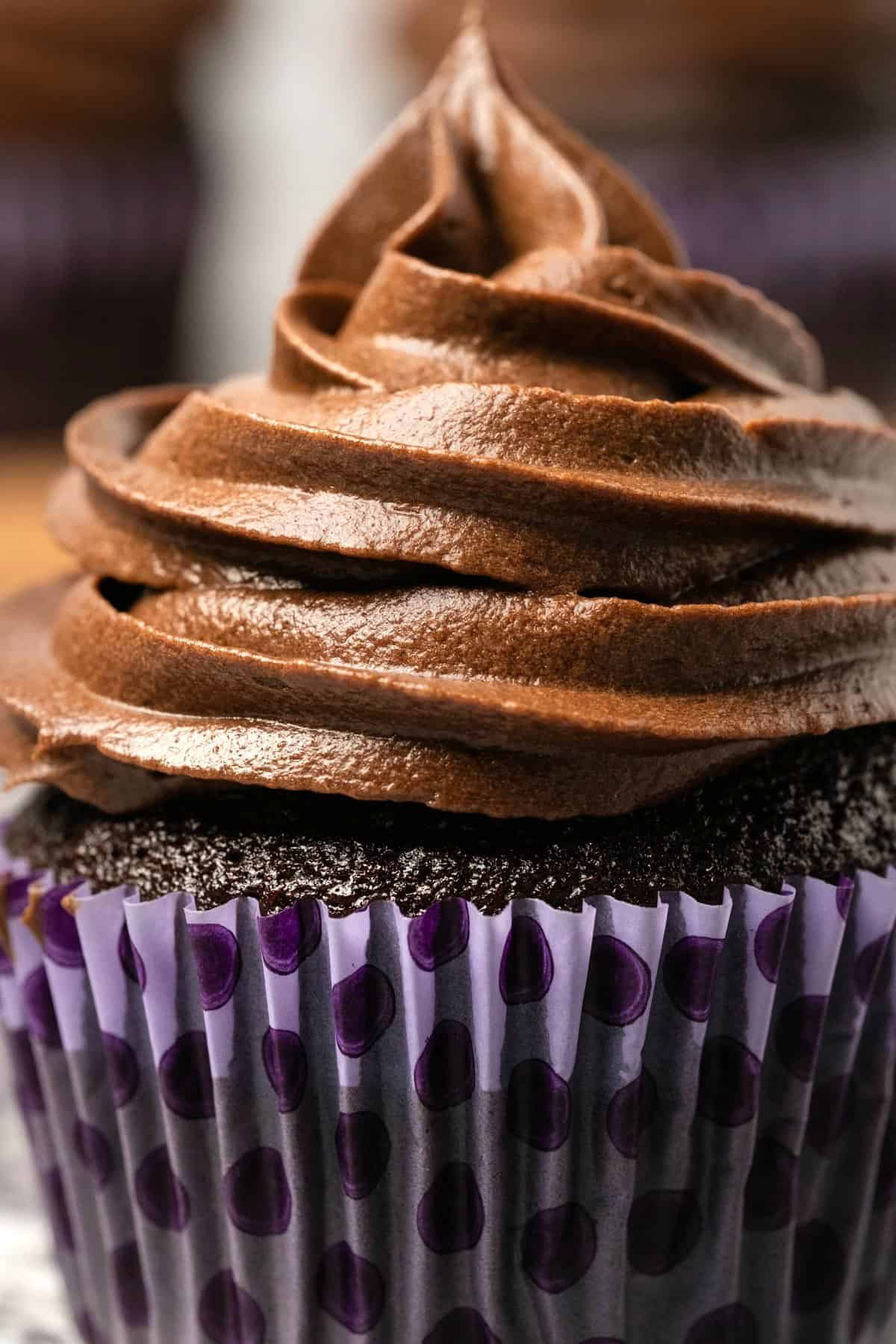 Cupcake with chocolate frosting piped on top.