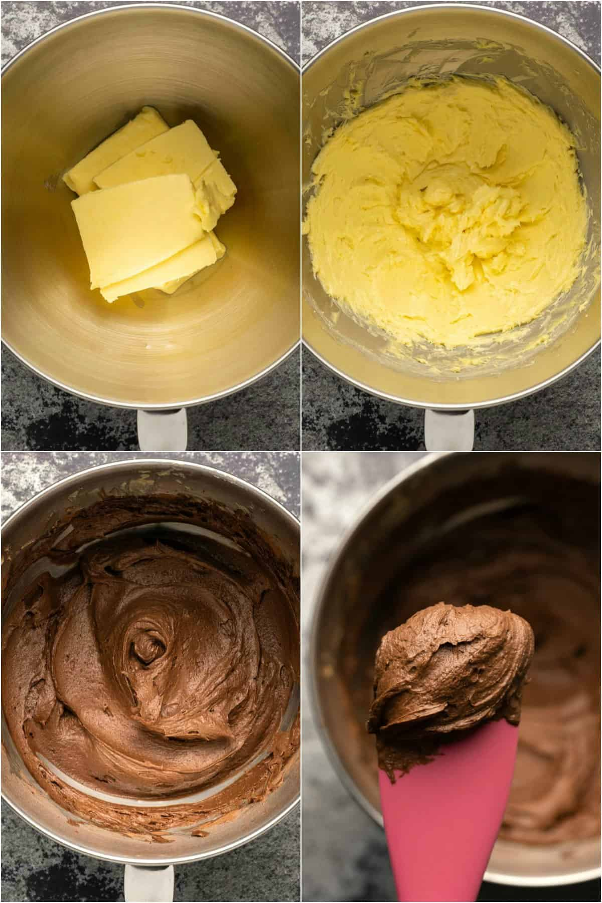 Step by step process photo collage of making chocolate buttercream frosting.