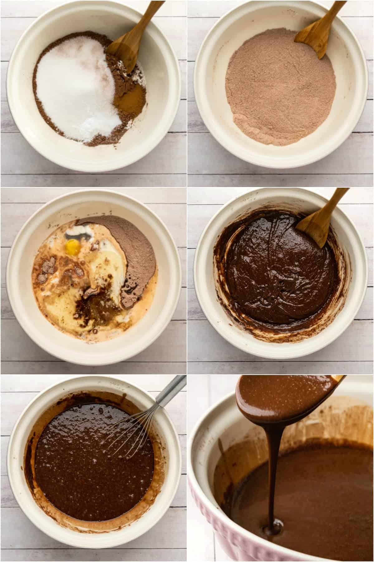 Step by step process photo collage of making the batter for a chocolate cake.