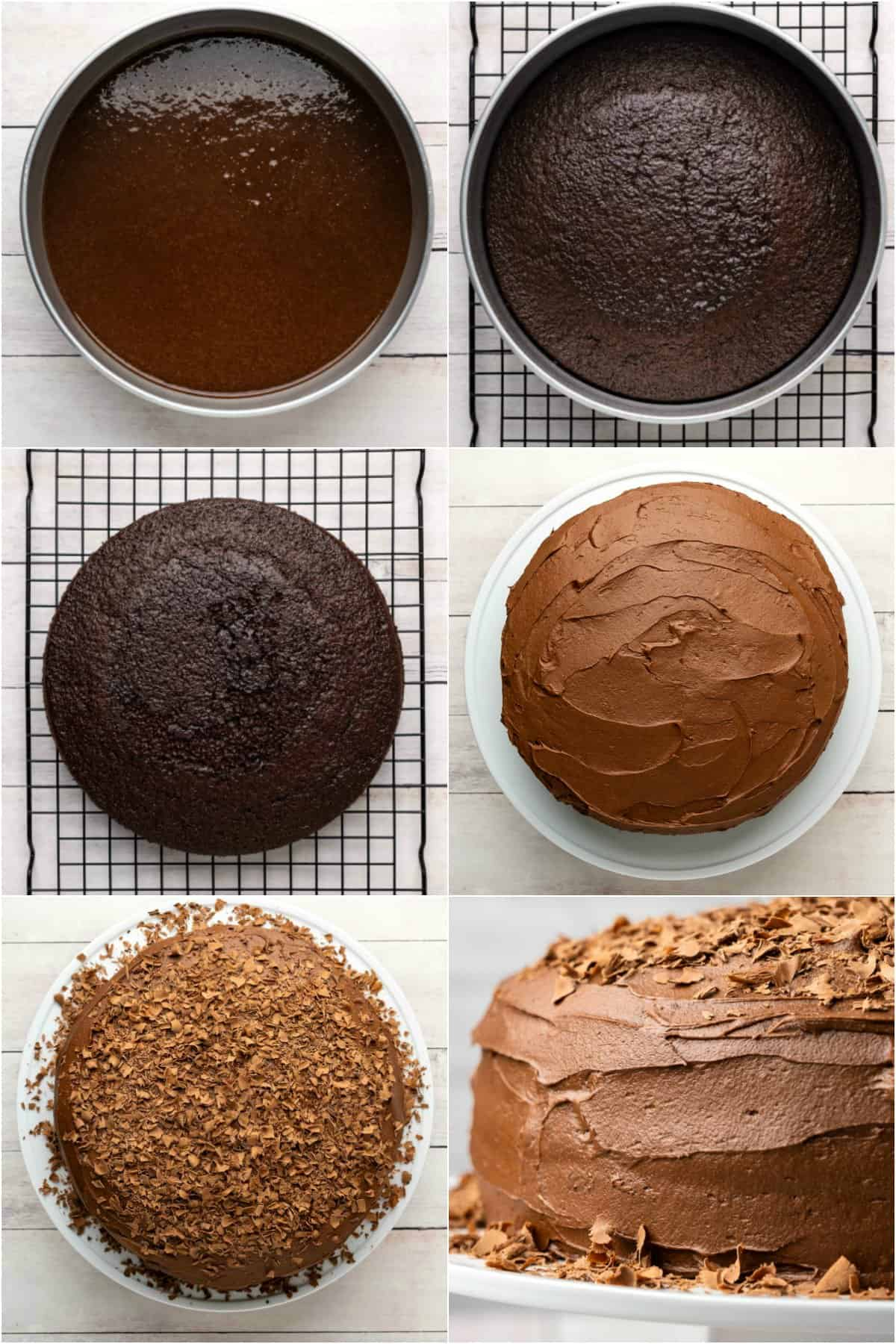 Step by step process photo collage of making a chocolate cake.