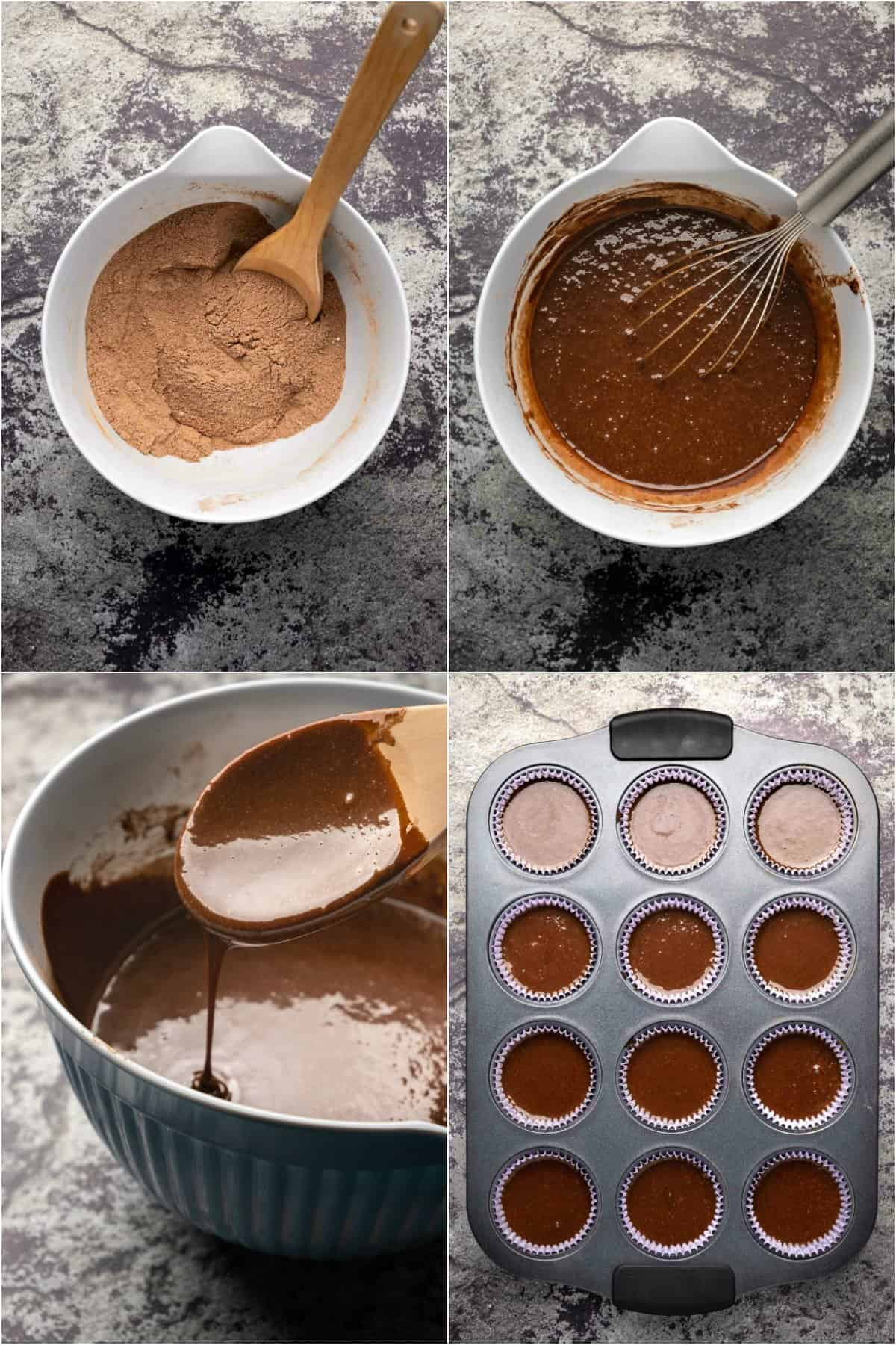 Step by step process photo collage of making chocolate cupcakes.