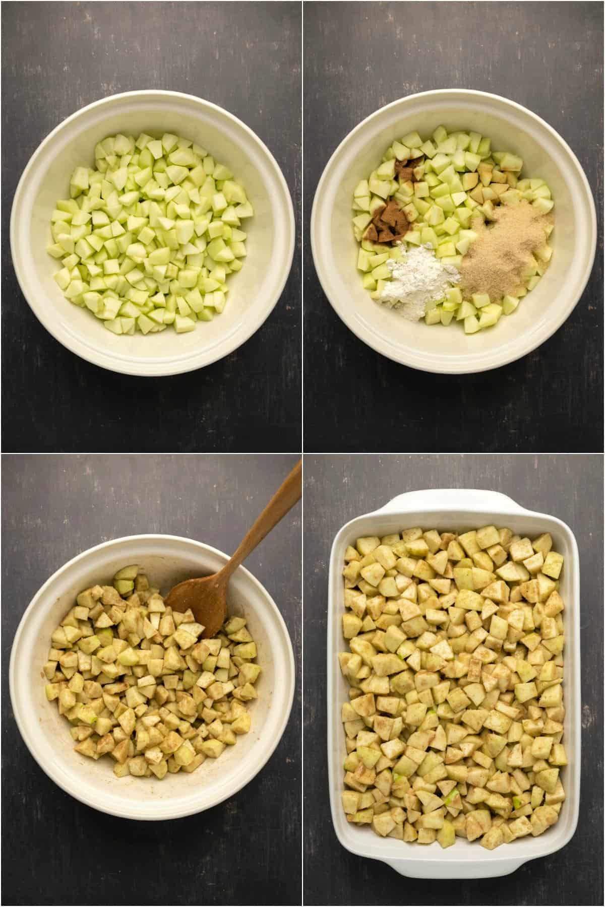 Step by step process photo collage o of preparing the apple filling for apple crisp.
