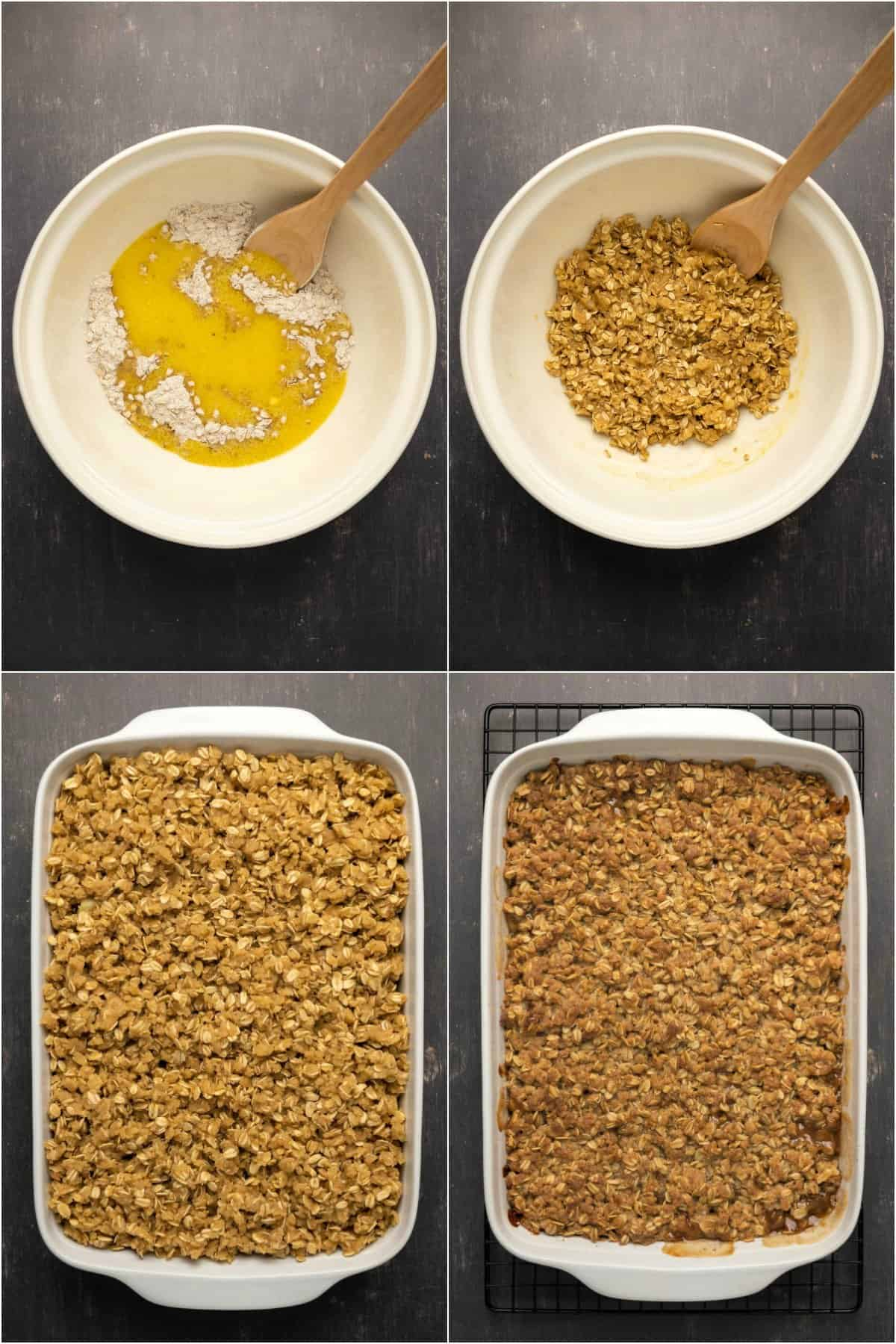 Step by step process photo collage of making the topping for apple crisp.