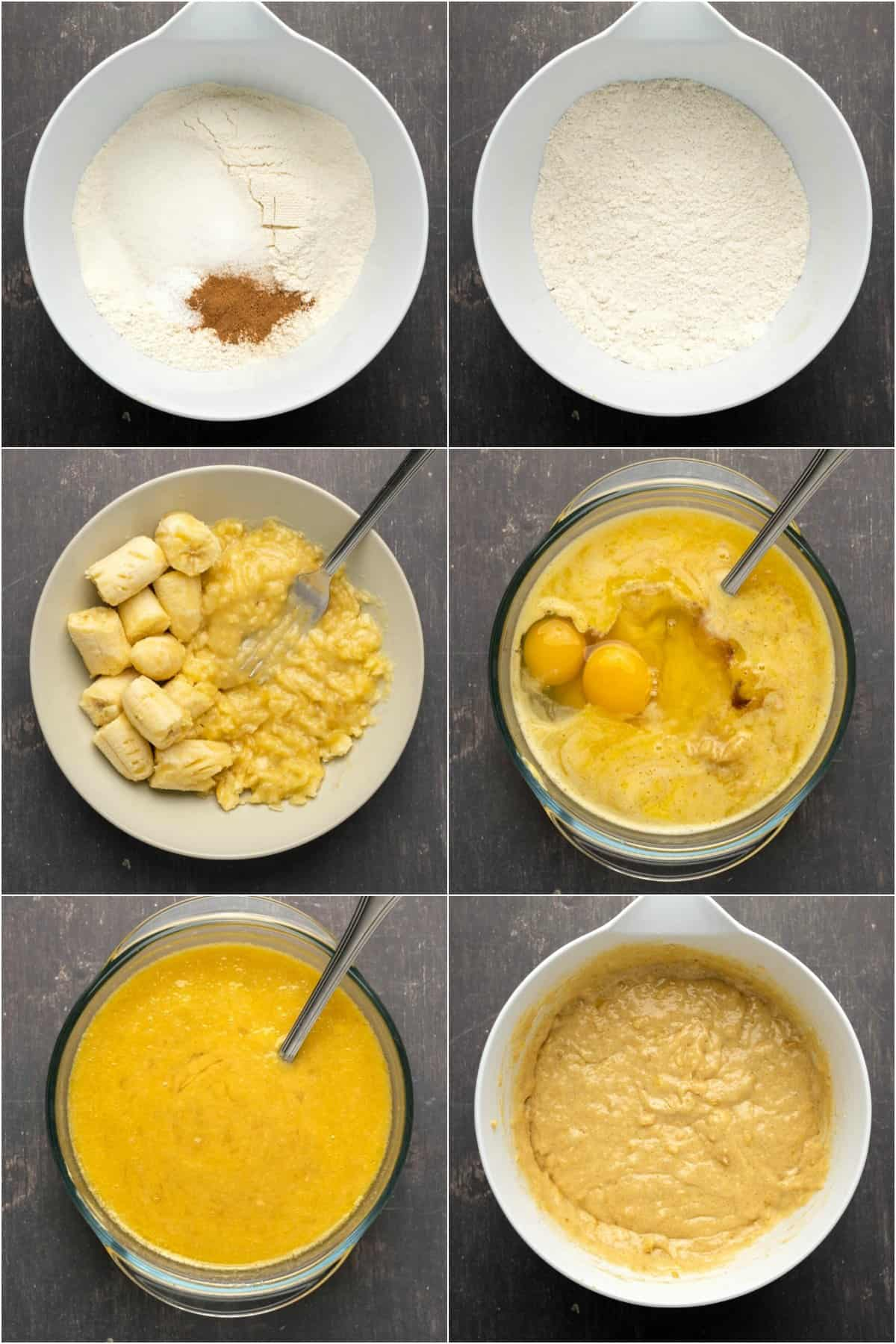 Step by step process photo collage of making banana bread.
