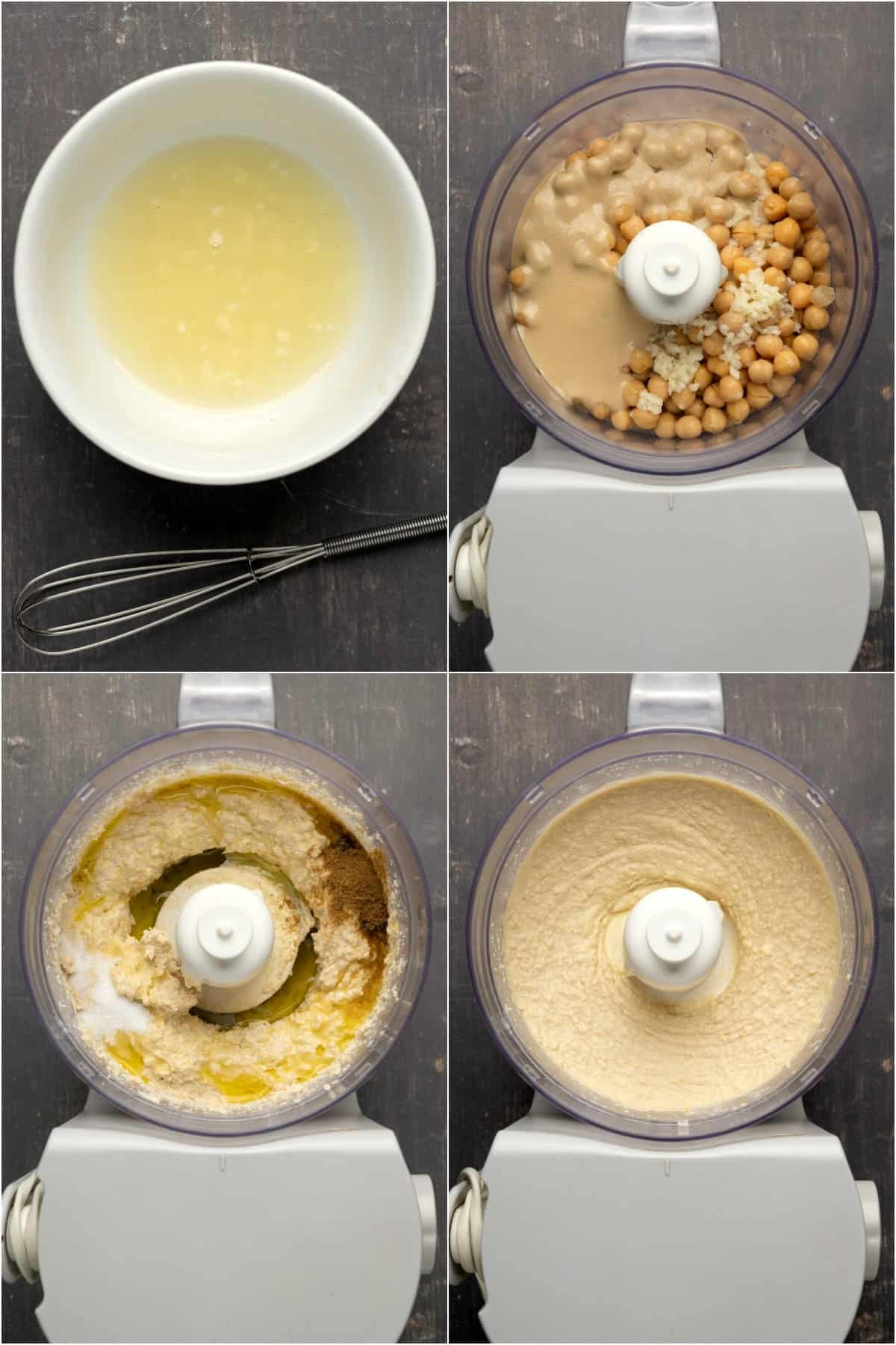 Step by step process photo collage of making hummus.