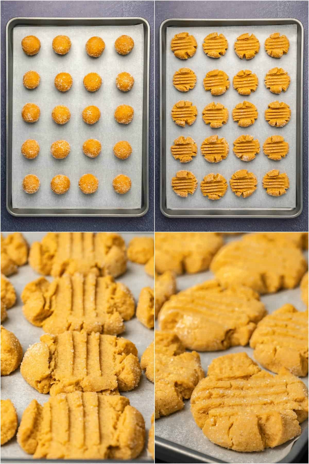 Step by step process photo collage of making peanut butter cookies.