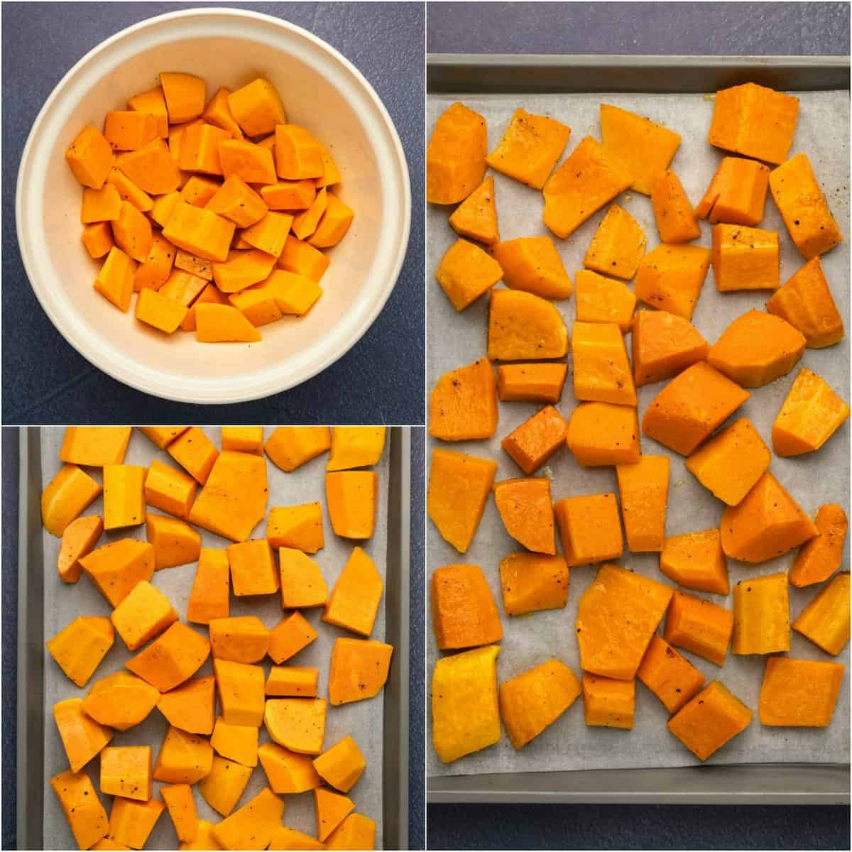 Step by step process photo collage of roasting butternut squash.
