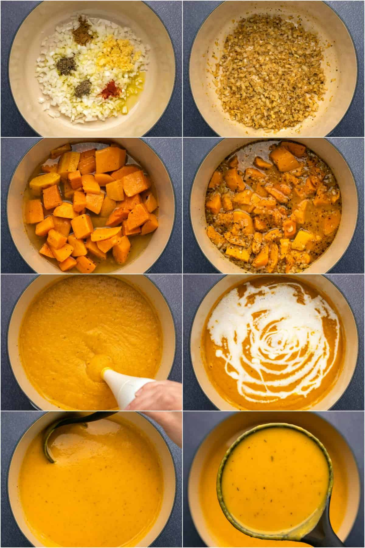 Step by step process photo collage of making roasted butternut squash soup.