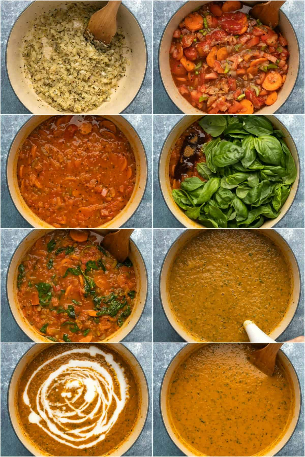 Step by step process photo collage of how to make tomato basil soup.