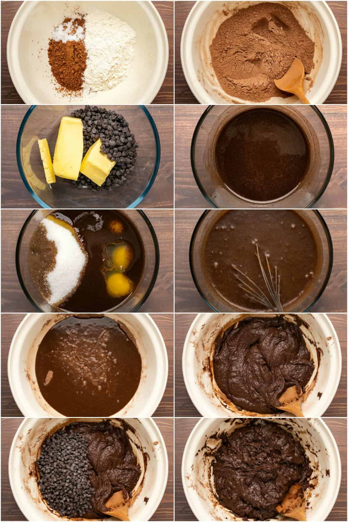 Step by step process photo collage of making the batter for brownies.