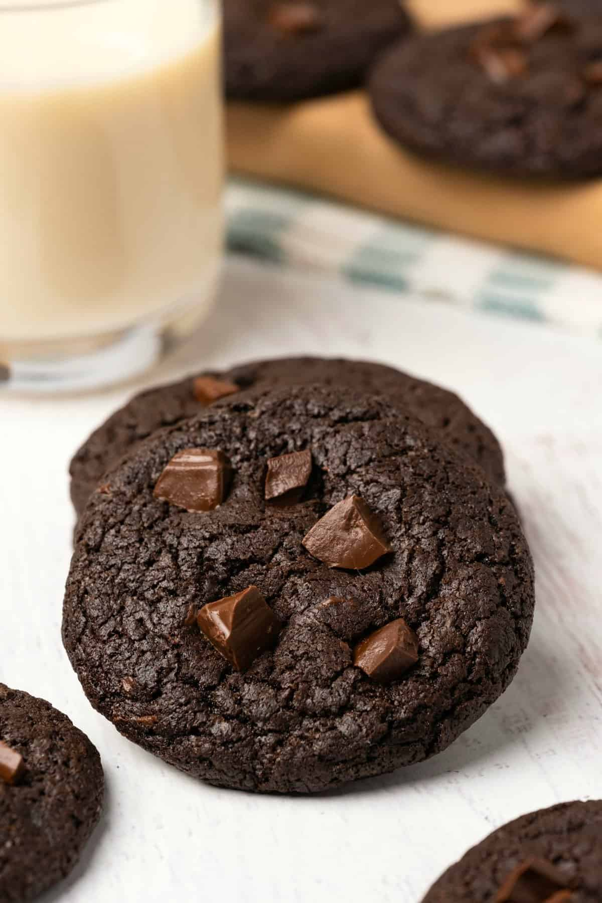 Chocolate cookies topped with chocolate chunks.