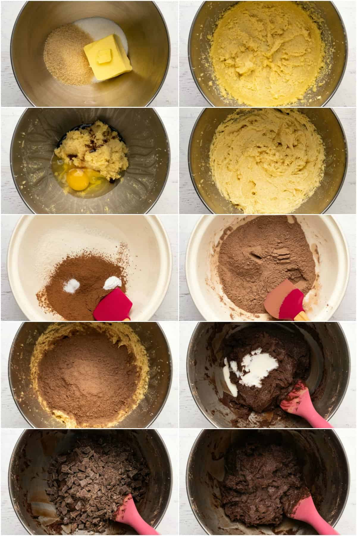Step by step process photo collage of making chocolate cookies.