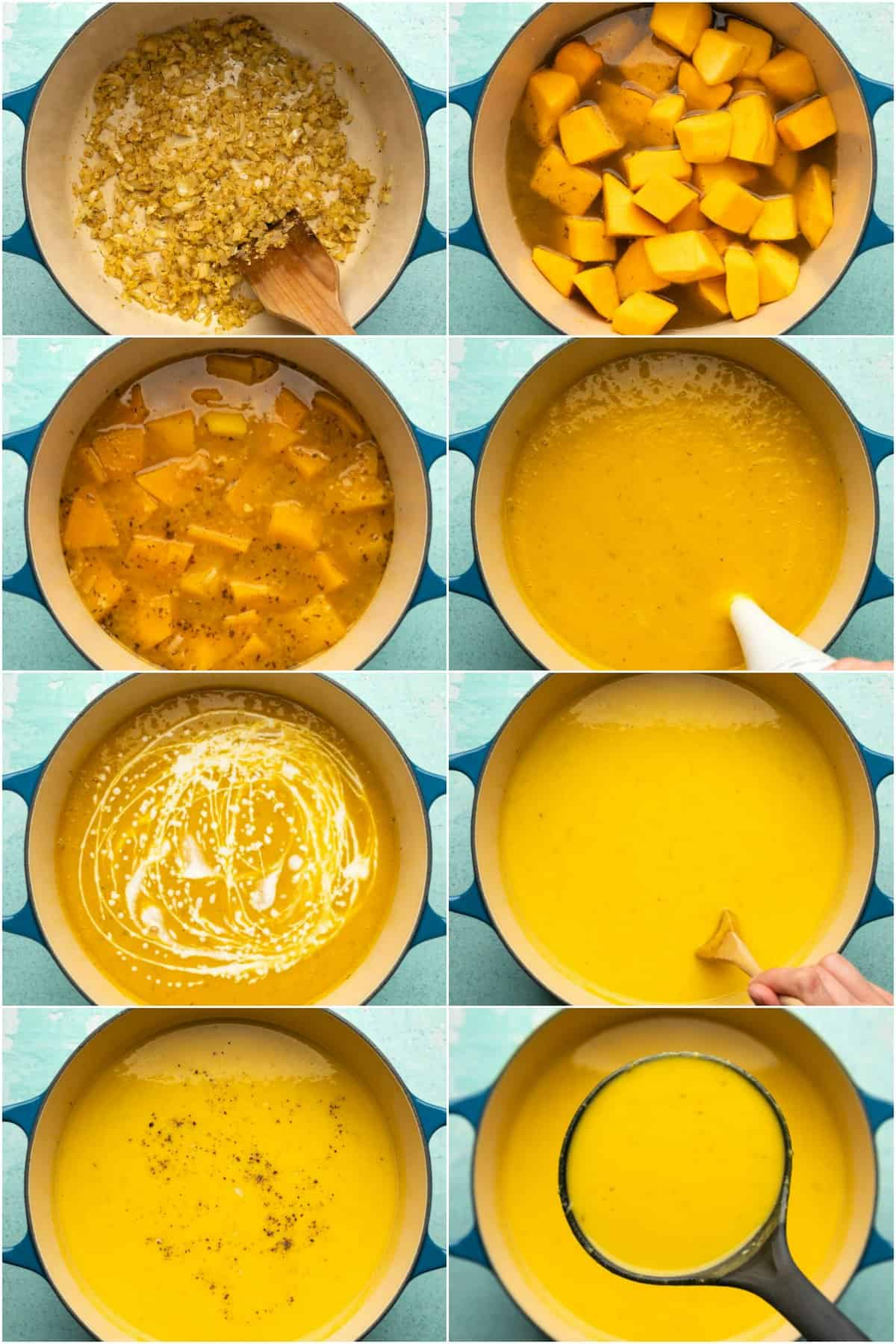 Step by step process photo collage of making pumpkin soup.