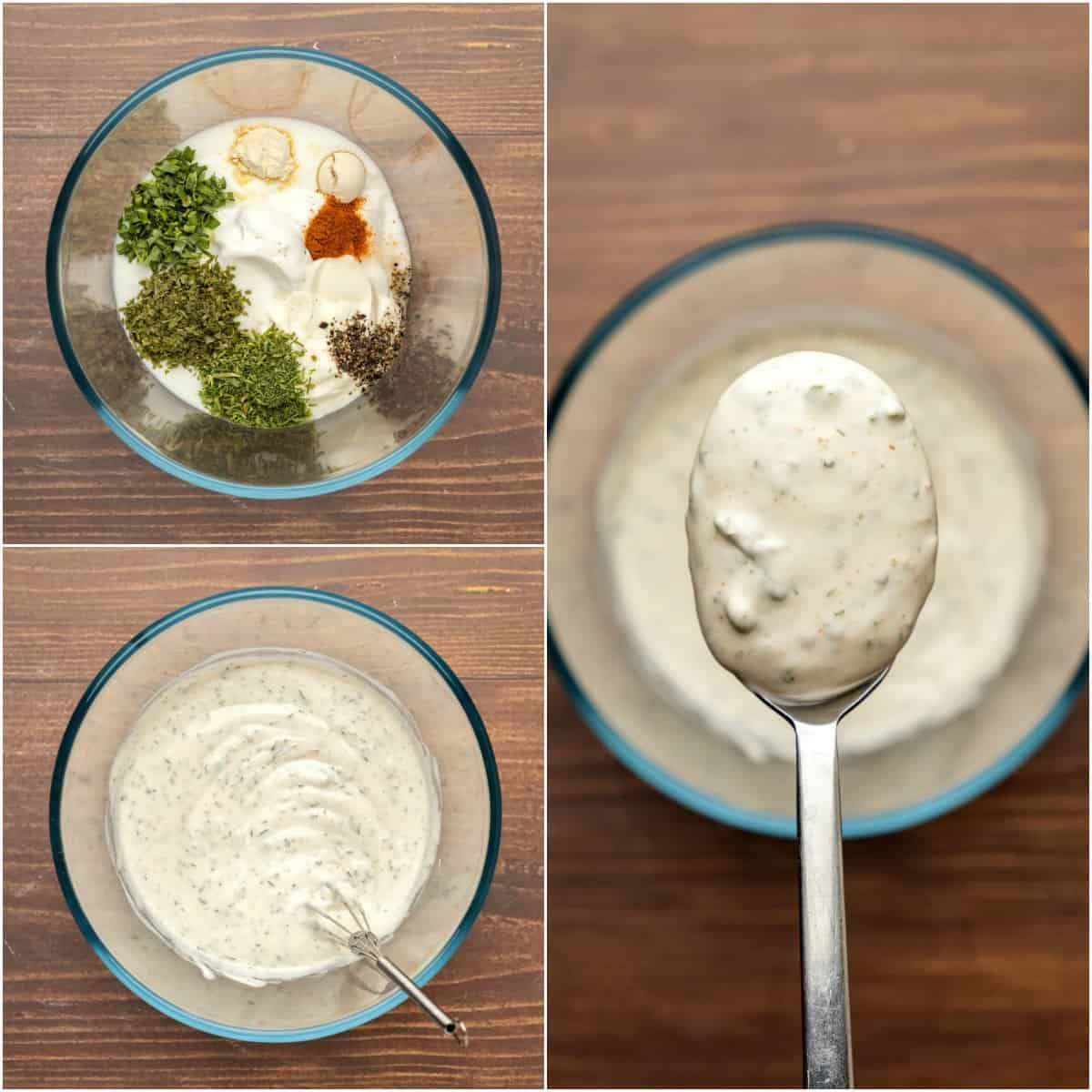 Step by step process photo collage of making ranch dressing.