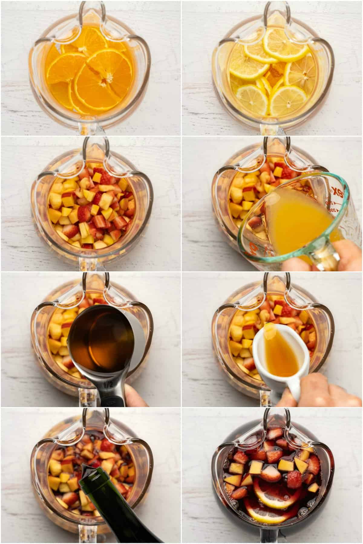 Step by step process photo collage of making sangria.