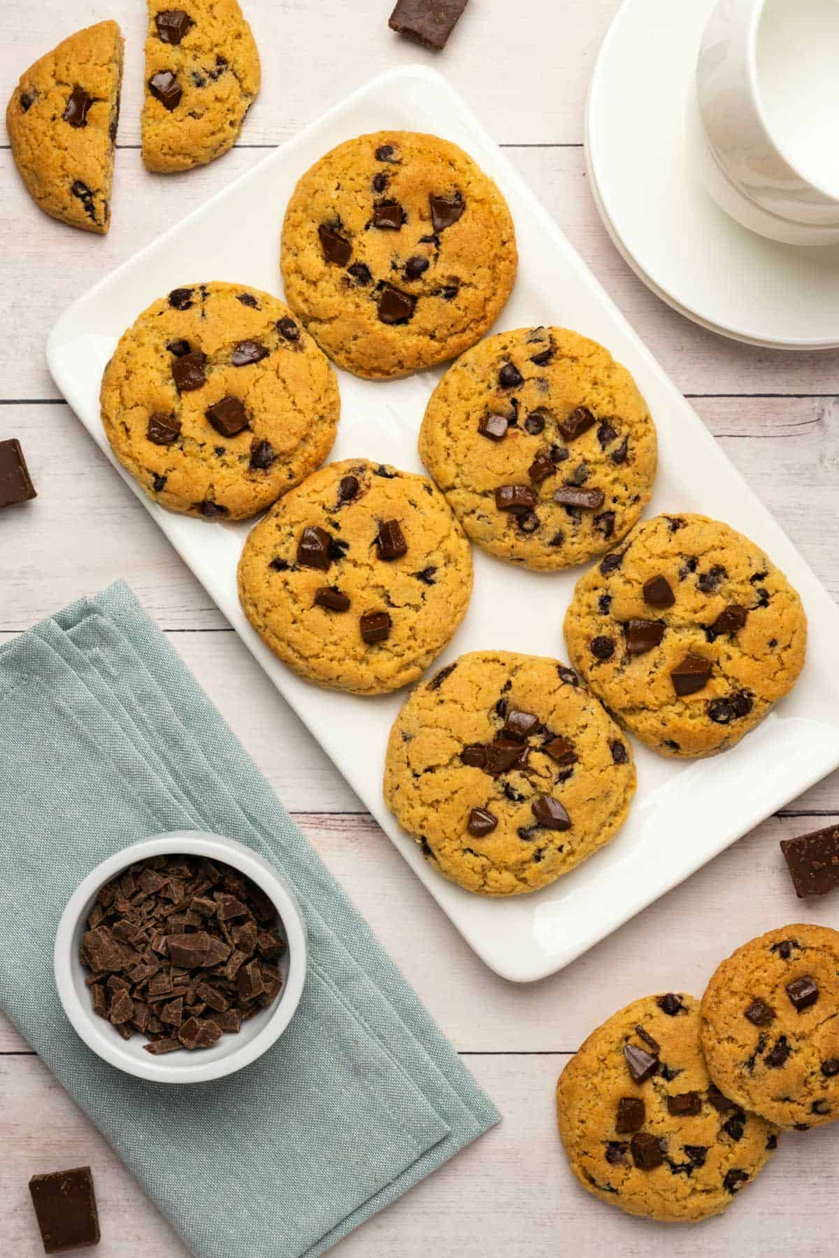 Chocolate chip cookies on a white plate.