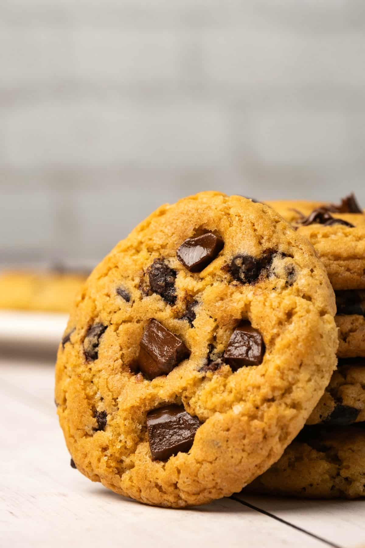 Chocolate chip cookie on a white background.