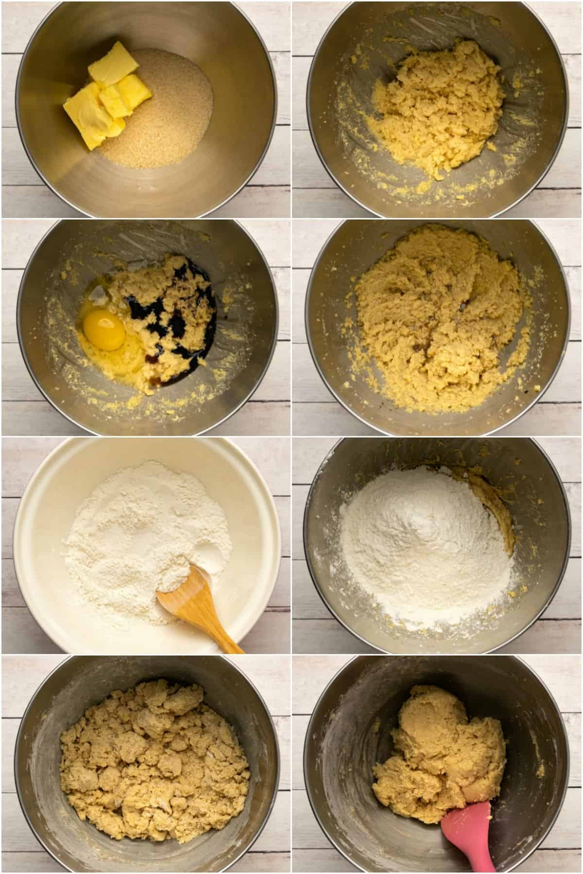 Step by step process photo collage of making chocolate chip cookie dough.