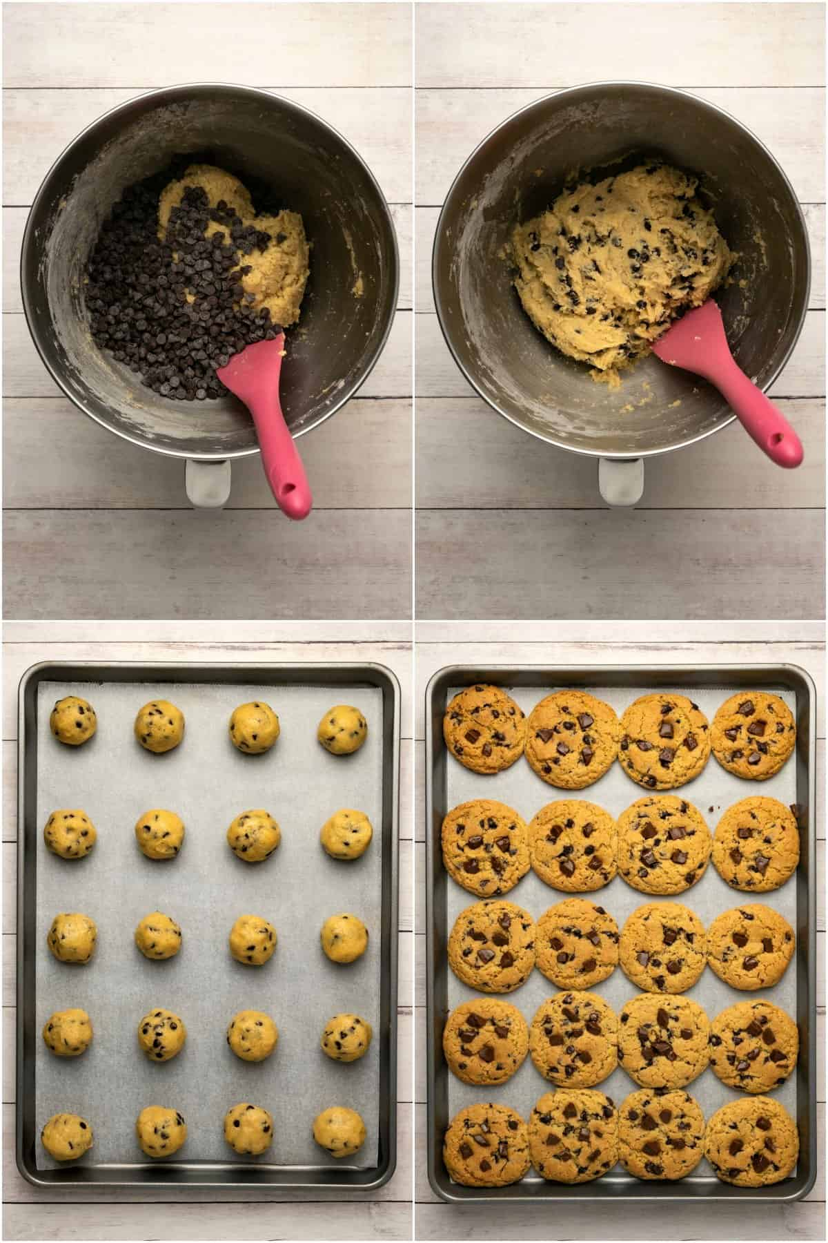 Step by step process photos of making chocolate chip cookies.