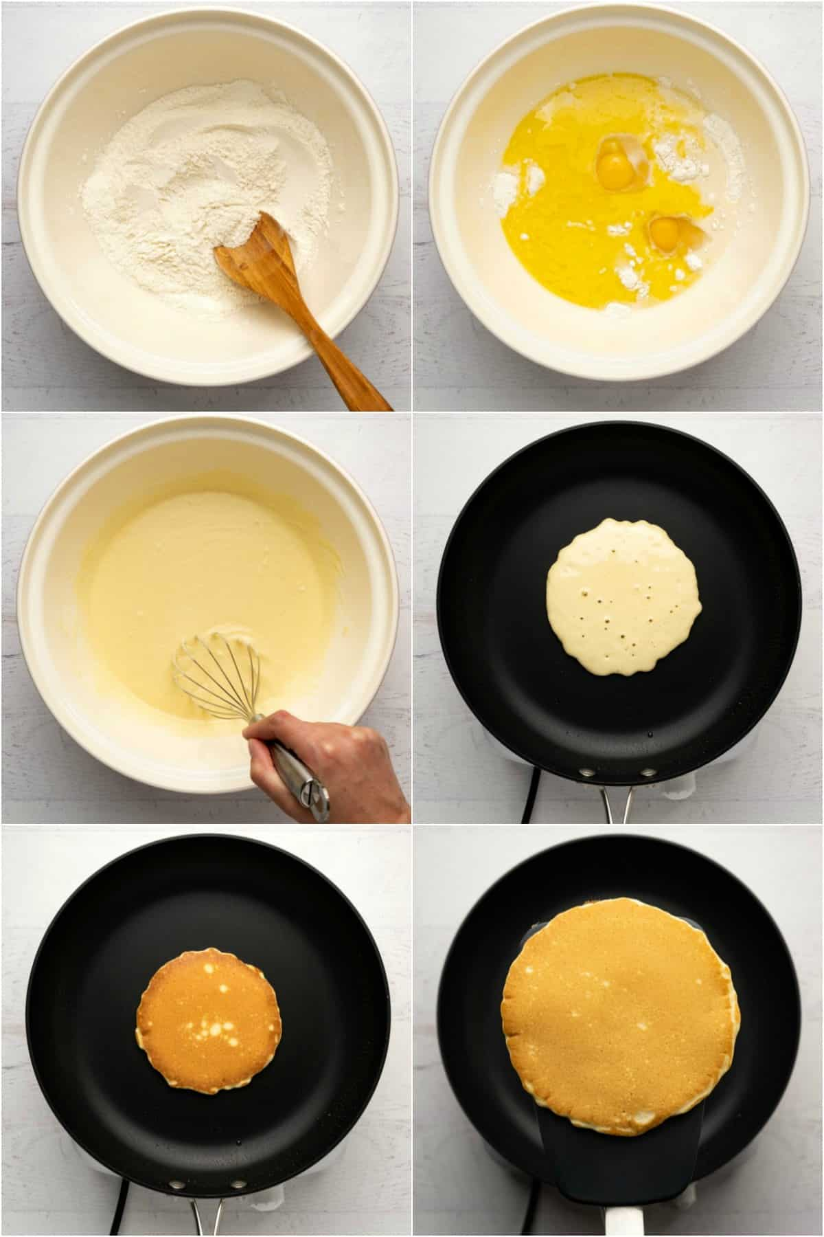 Step by step process photo collage of making pancakes.