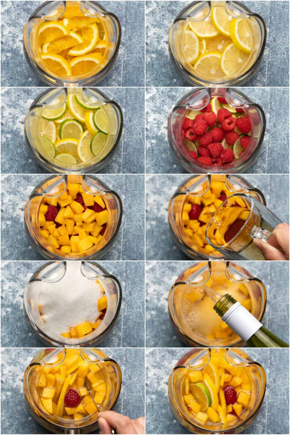 Step by step process photo collage of making white sangria.