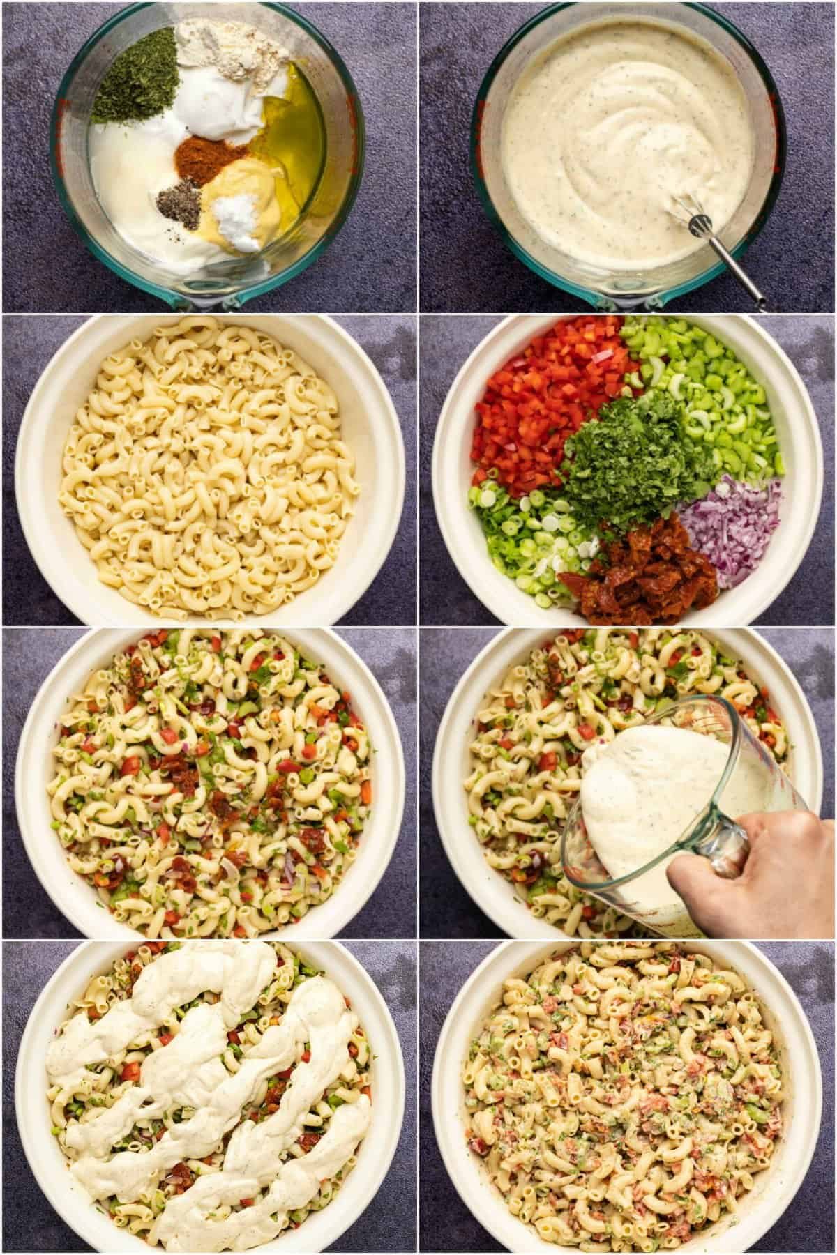 Step by step process photo collage of making macaroni salad.