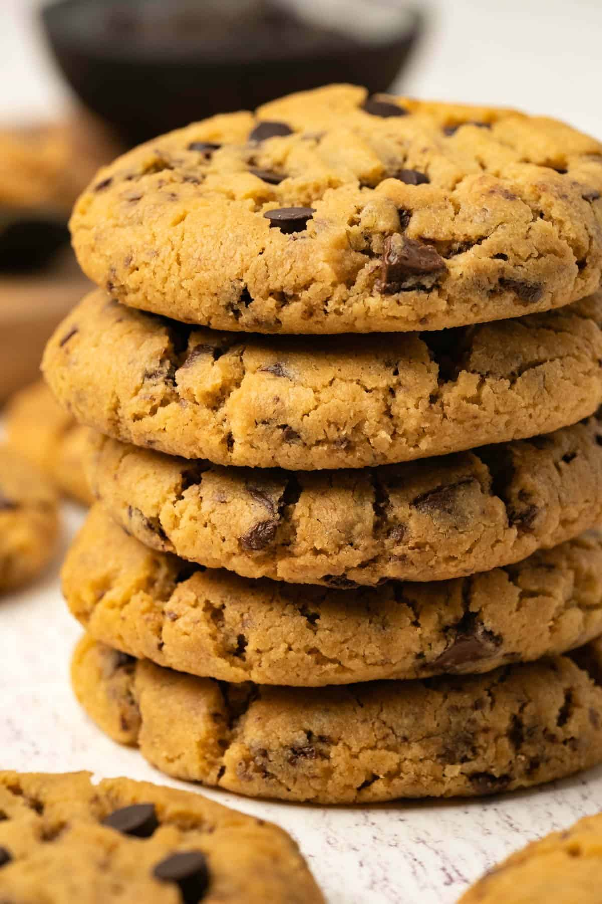 A stack of peanut butter chocolate chip cookies.