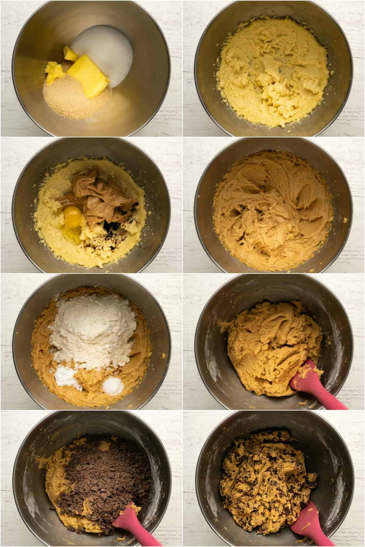 Step by step process photo collage of making peanut butter chocolate chip cookies.