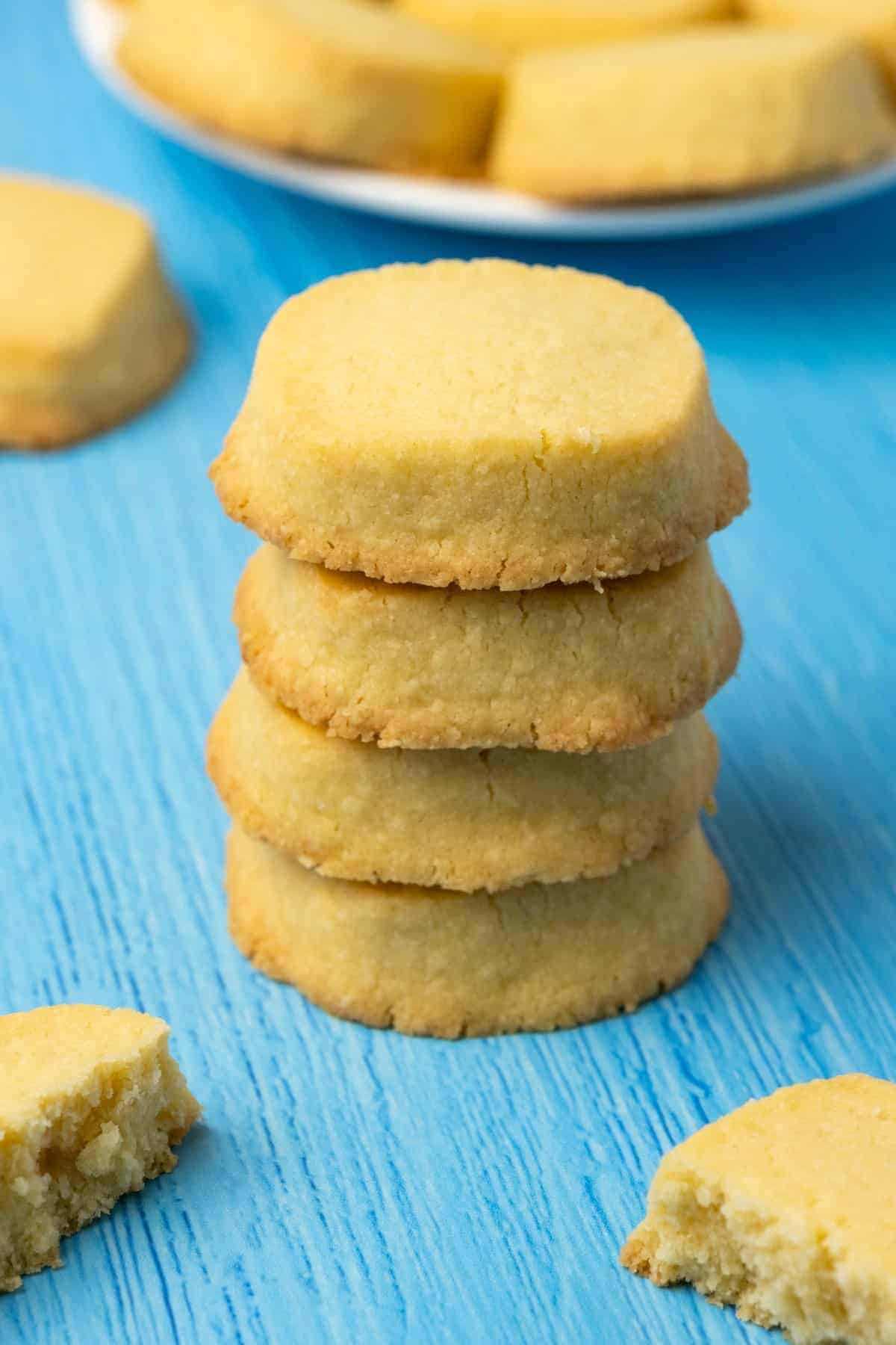 Shortbread cookies in a stack.