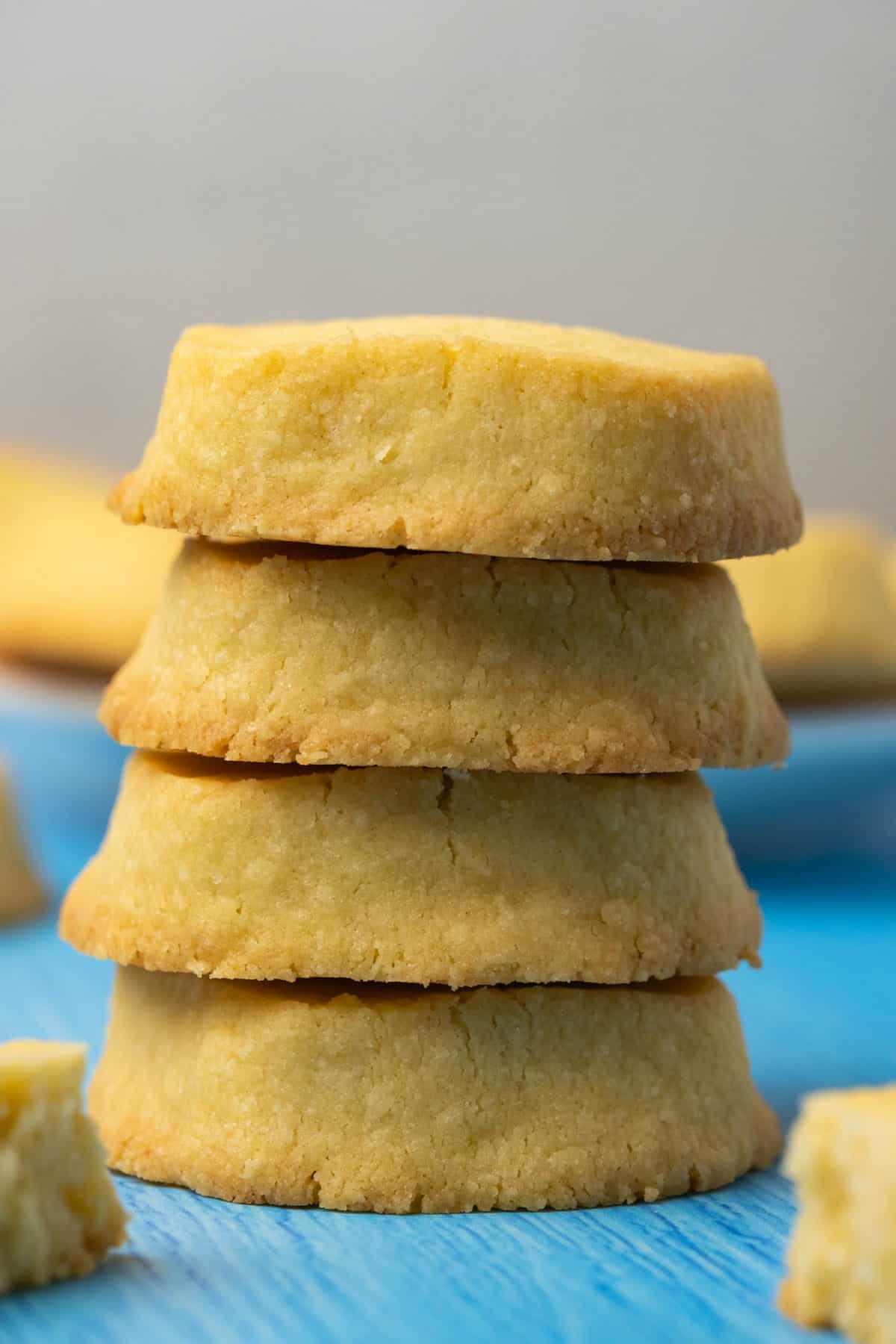 A stack of shortbread cookies