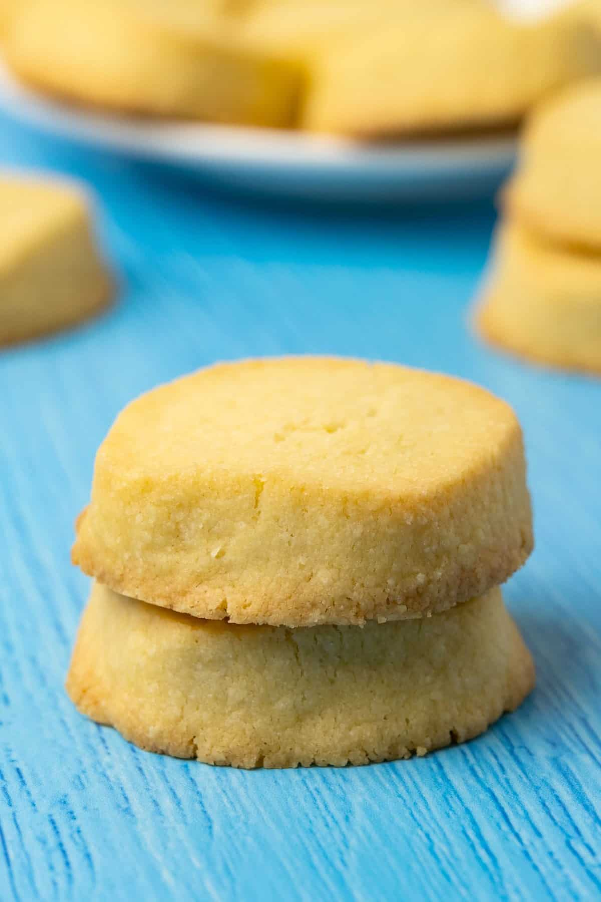A stack of two shortbread cookies.