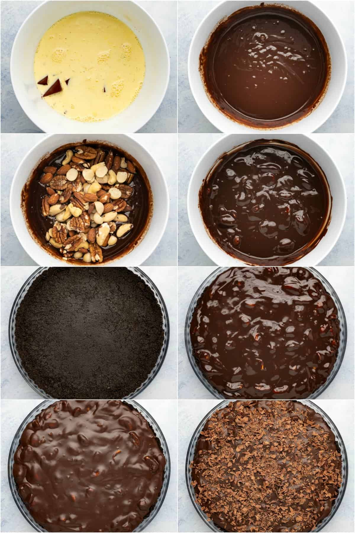 Step by step process photo collage of making a chocolate tart.