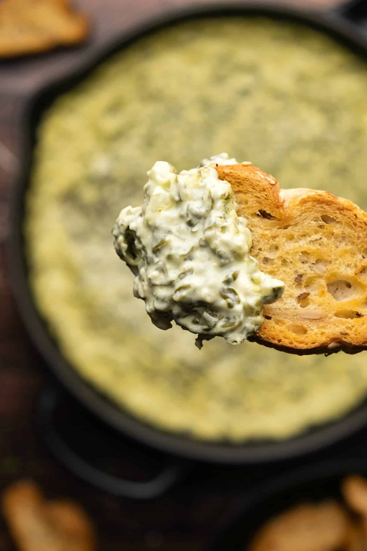 A toasted baguette dipped into baked spinach dip.
