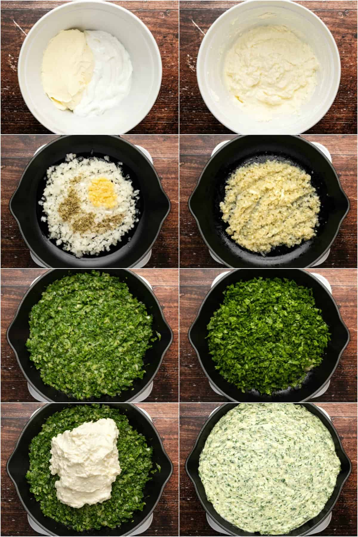 Step by step process photo collage of making a baked spinach dip.