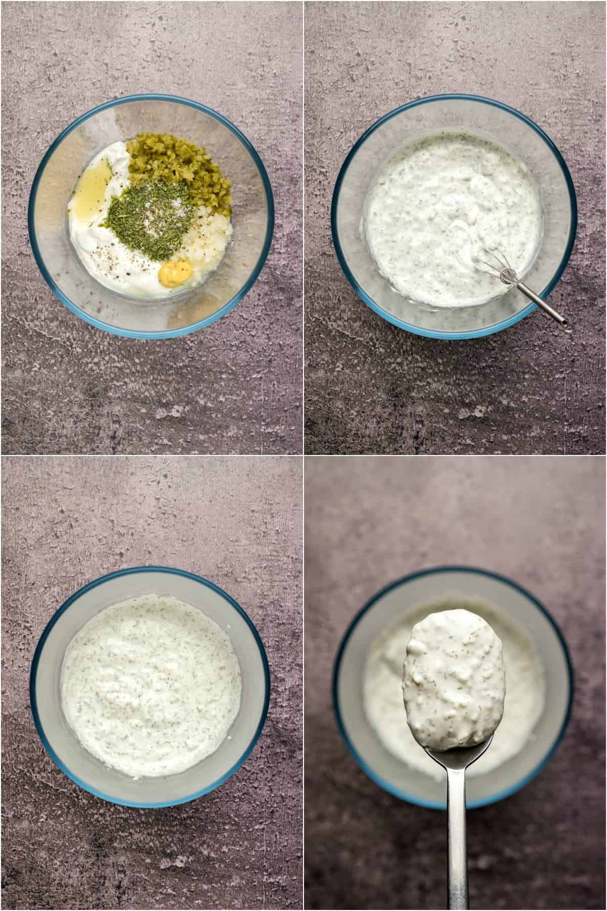 Step by step process photo collage of making homemade tartar sauce.