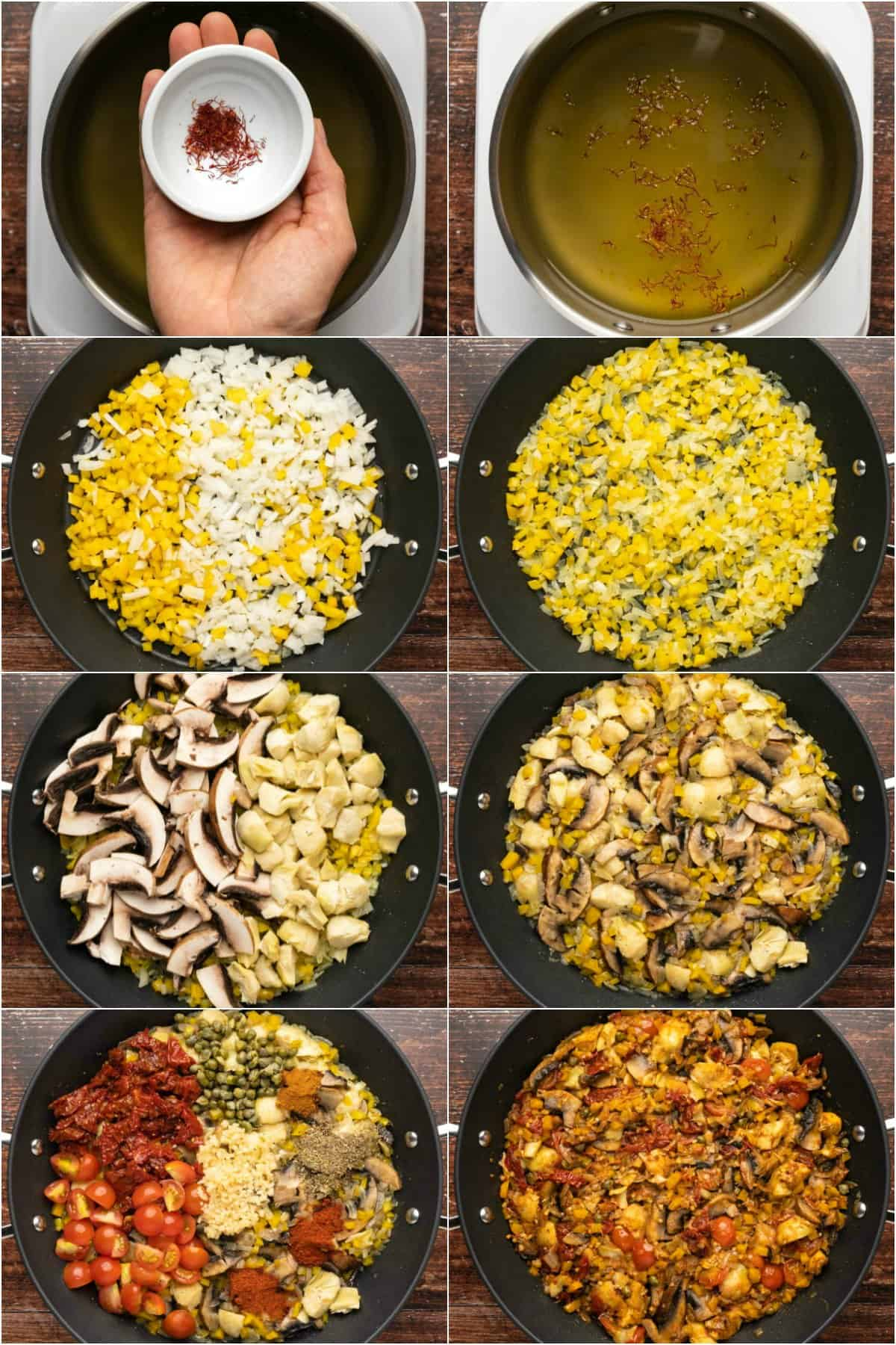 Step by step process photo collage of making vegetable paella.