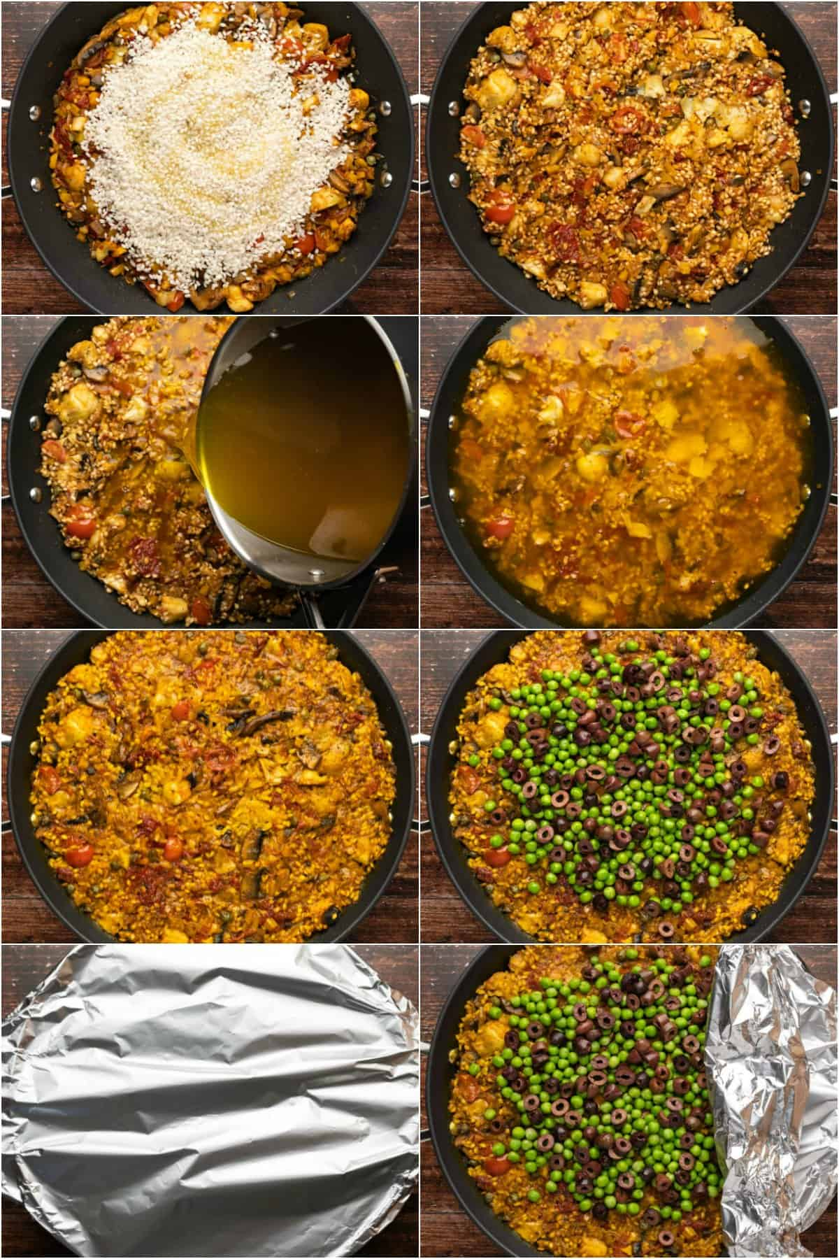 Step by step process photo collage of making vegetarian paella.