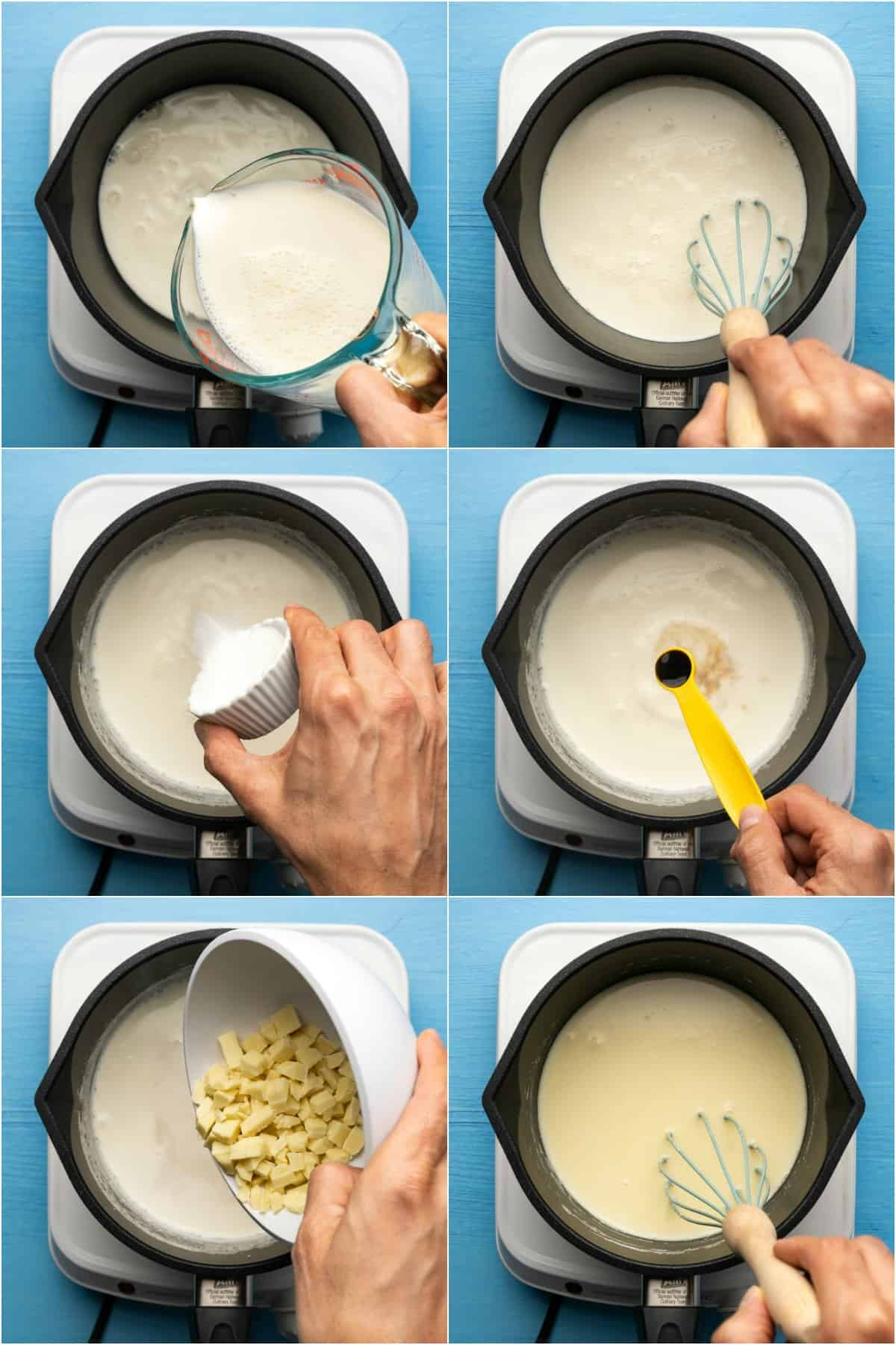 Step by step process photo collage of making white hot chocolate.