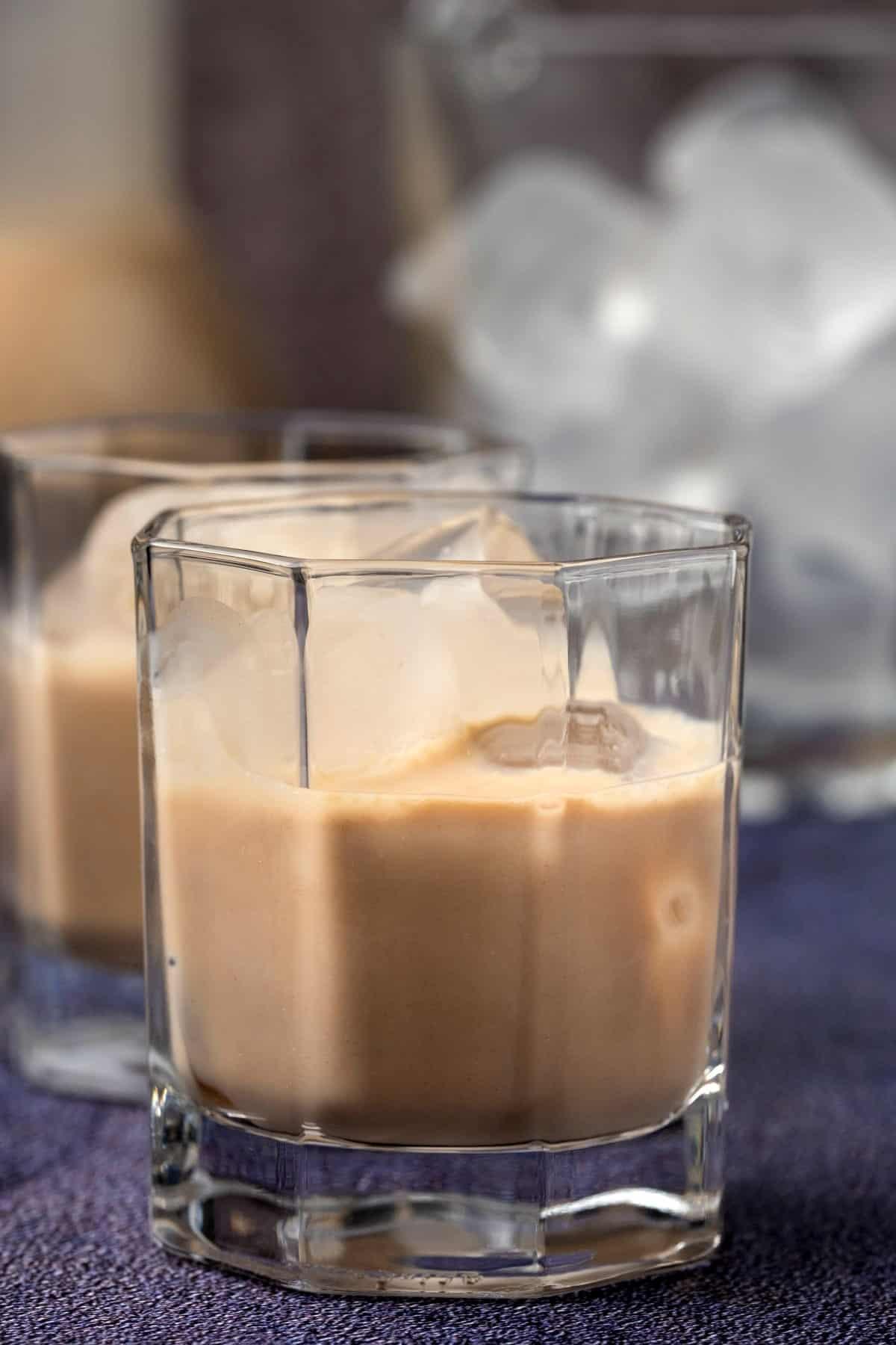 Irish cream over ice in a glass.