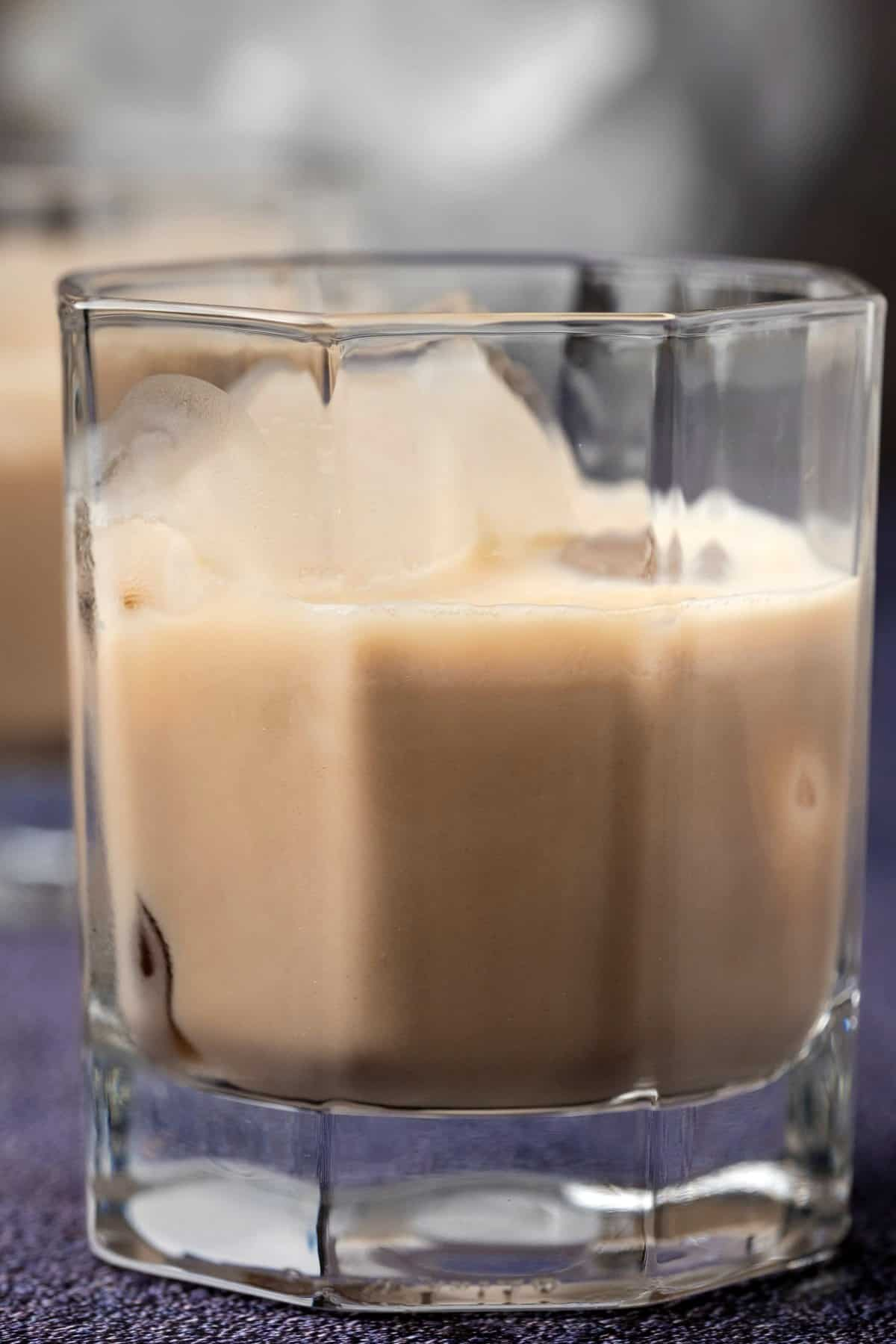 Irish cream with ice in a glass.