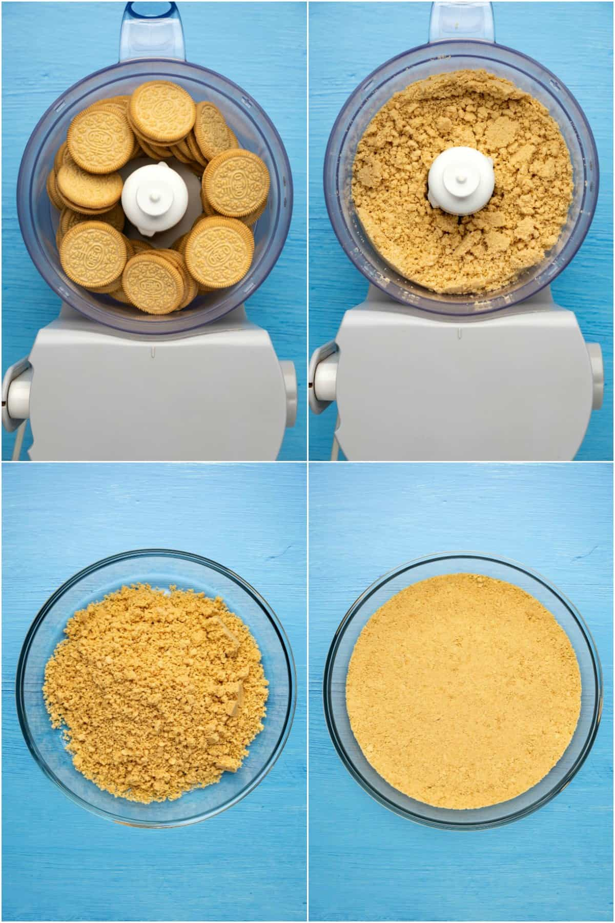 Step by step process photo collage of making a golden oreo pie crust.
