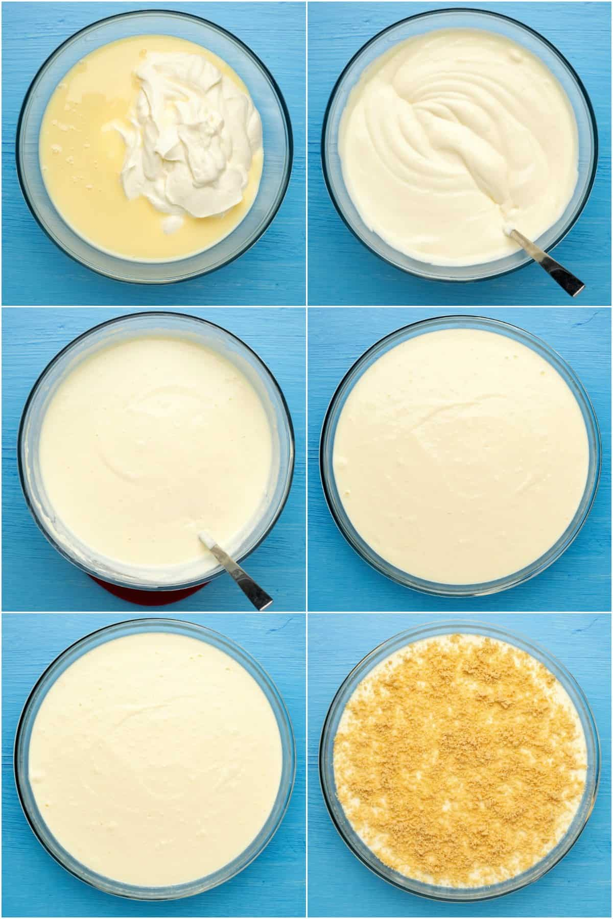 Step by step process photo collage of making the filling for a Greek yogurt cheesecake.