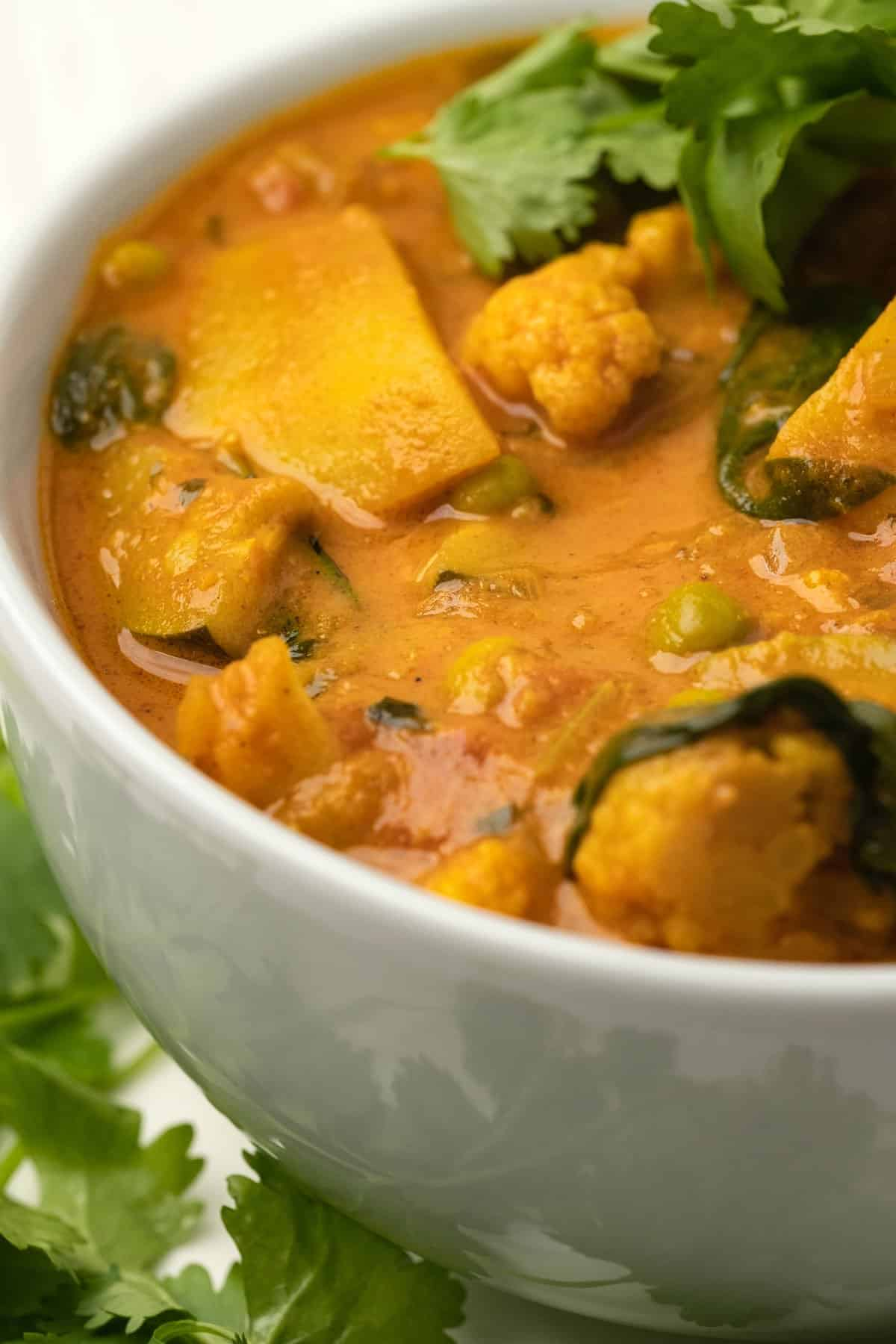 Veggie curry in a white bowl.