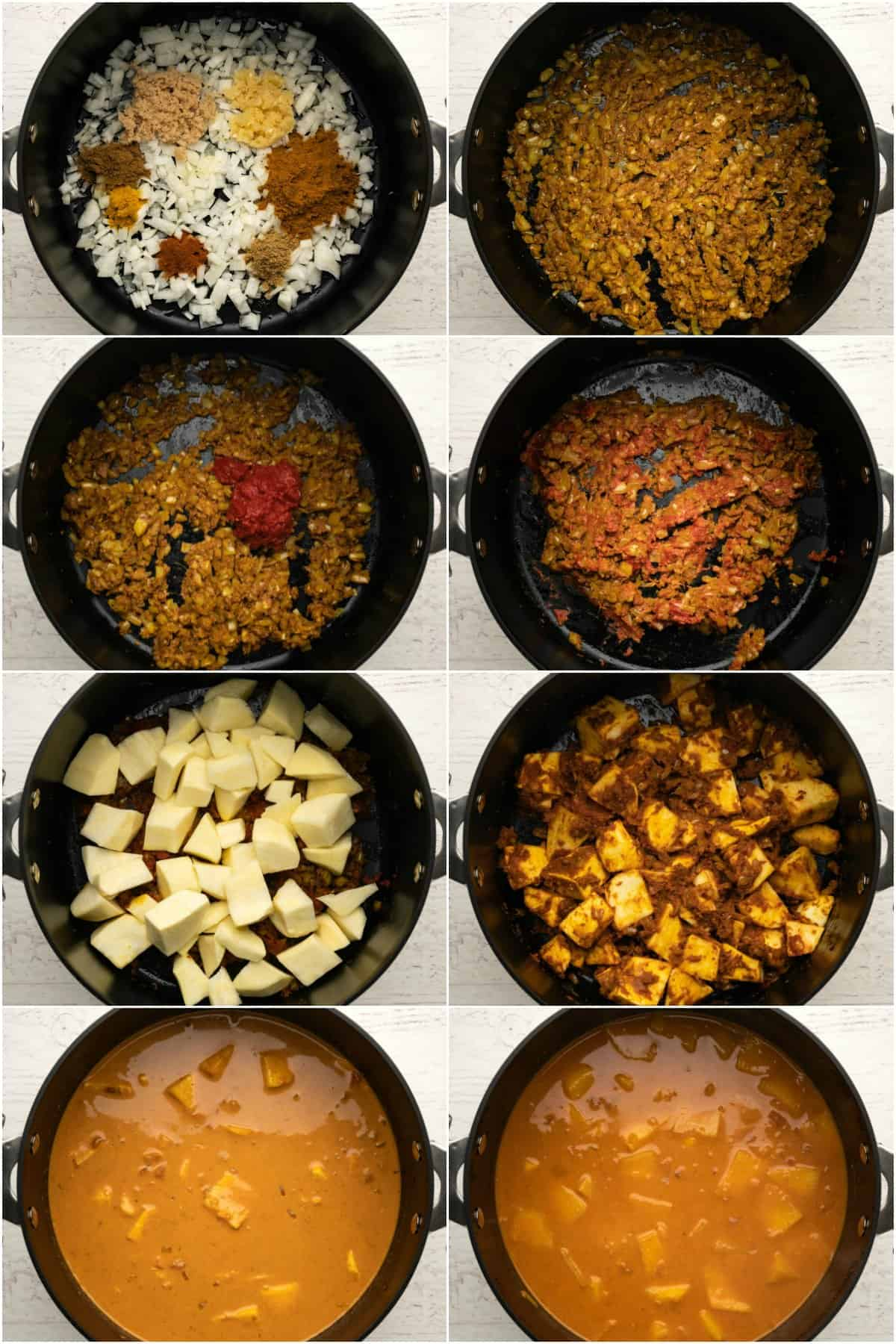 Step by step process photo collage of making a vegetable curry.