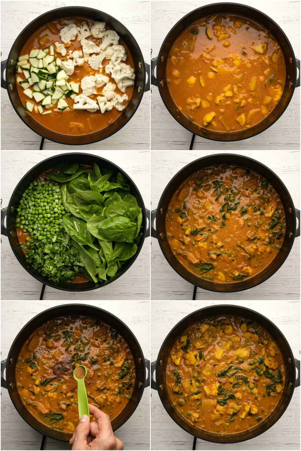 Step by step process photo collage of making a veg curry.