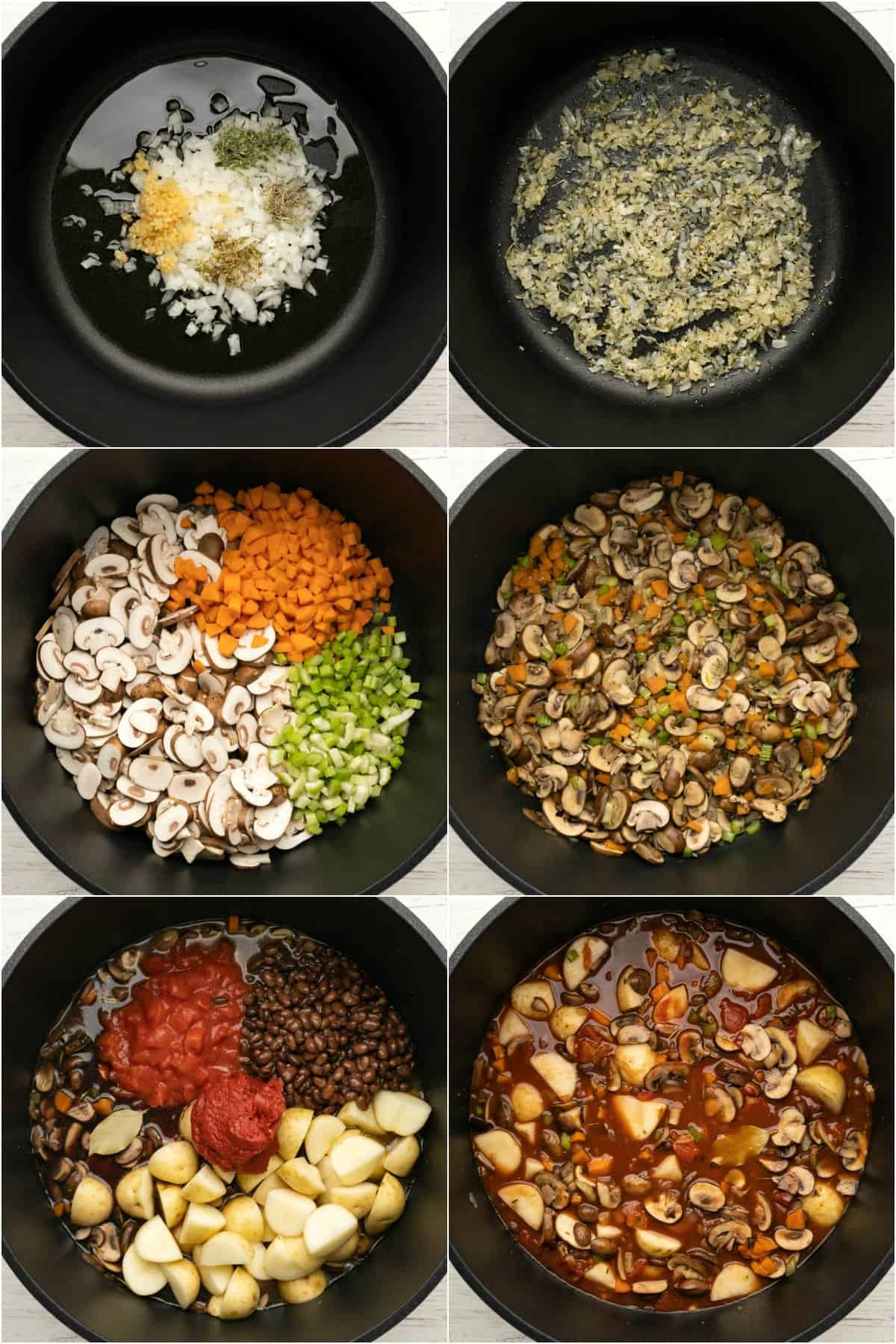 Step by step process photo collage of making vegetable stew.