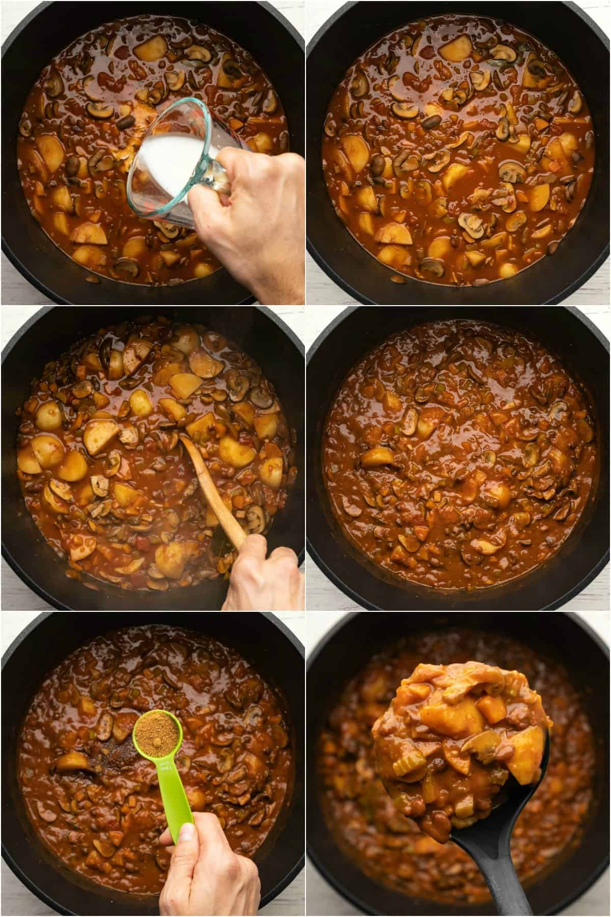 Step by step process photo collage of making a vegetable stew.
