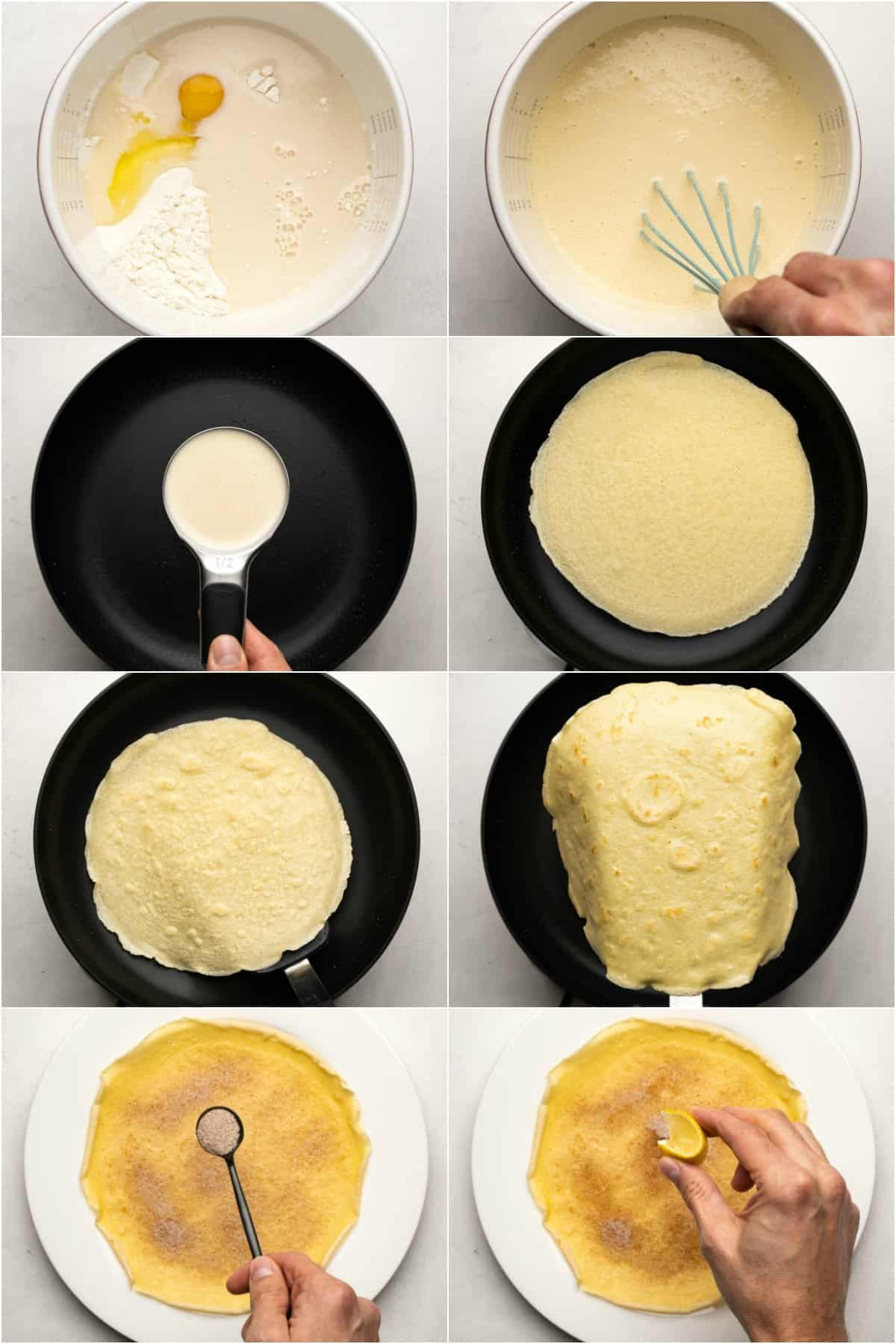 Step by step process photo collage of making crepes.