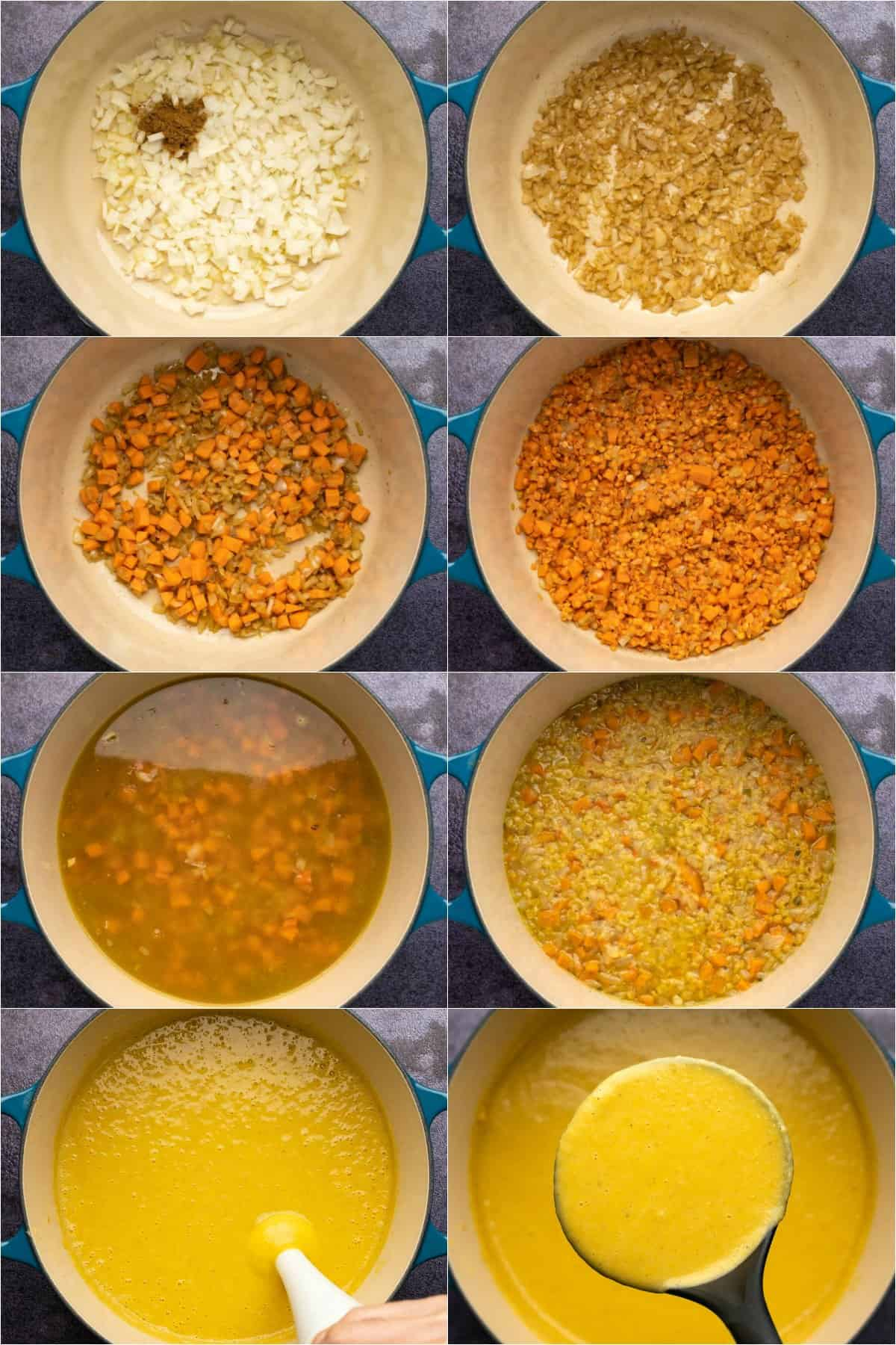 Step by step process photo collage of making middle eastern lentil soup.
