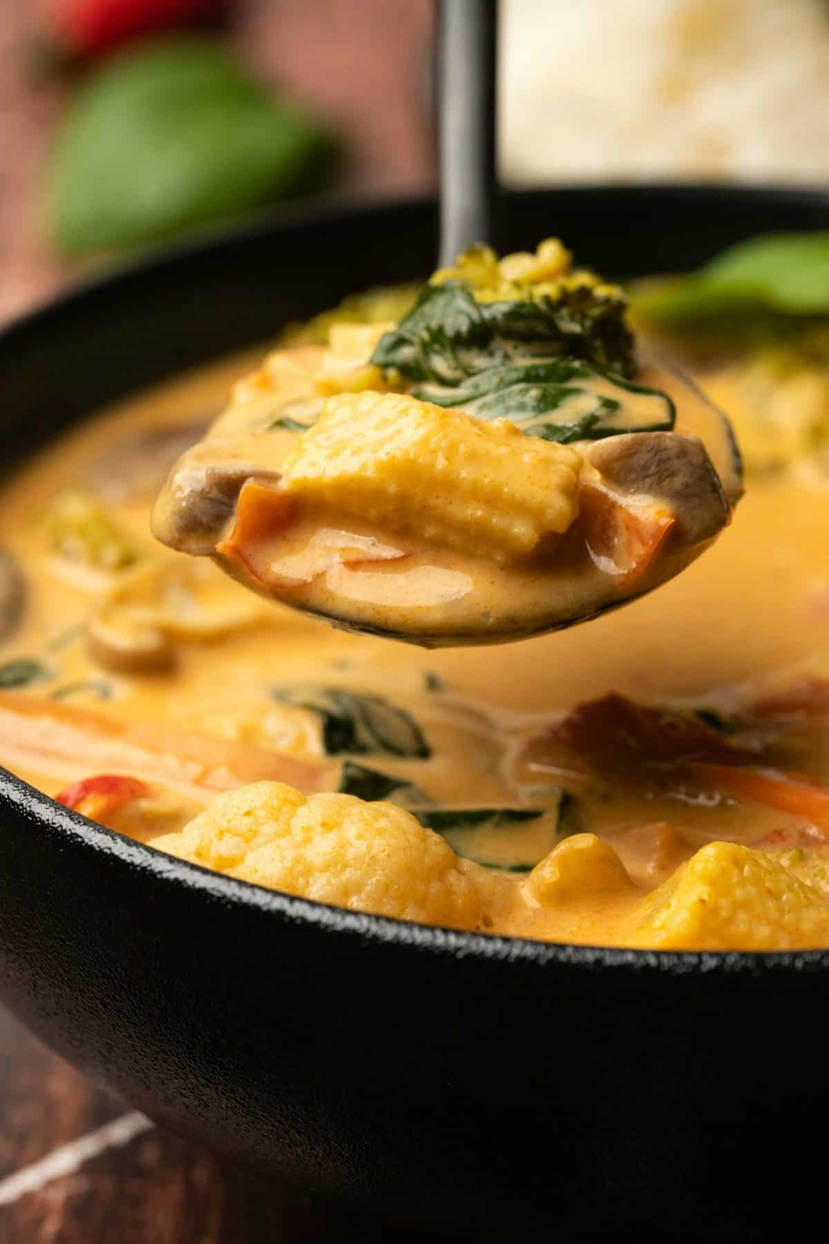 Spoonful of red curry with vegetables.